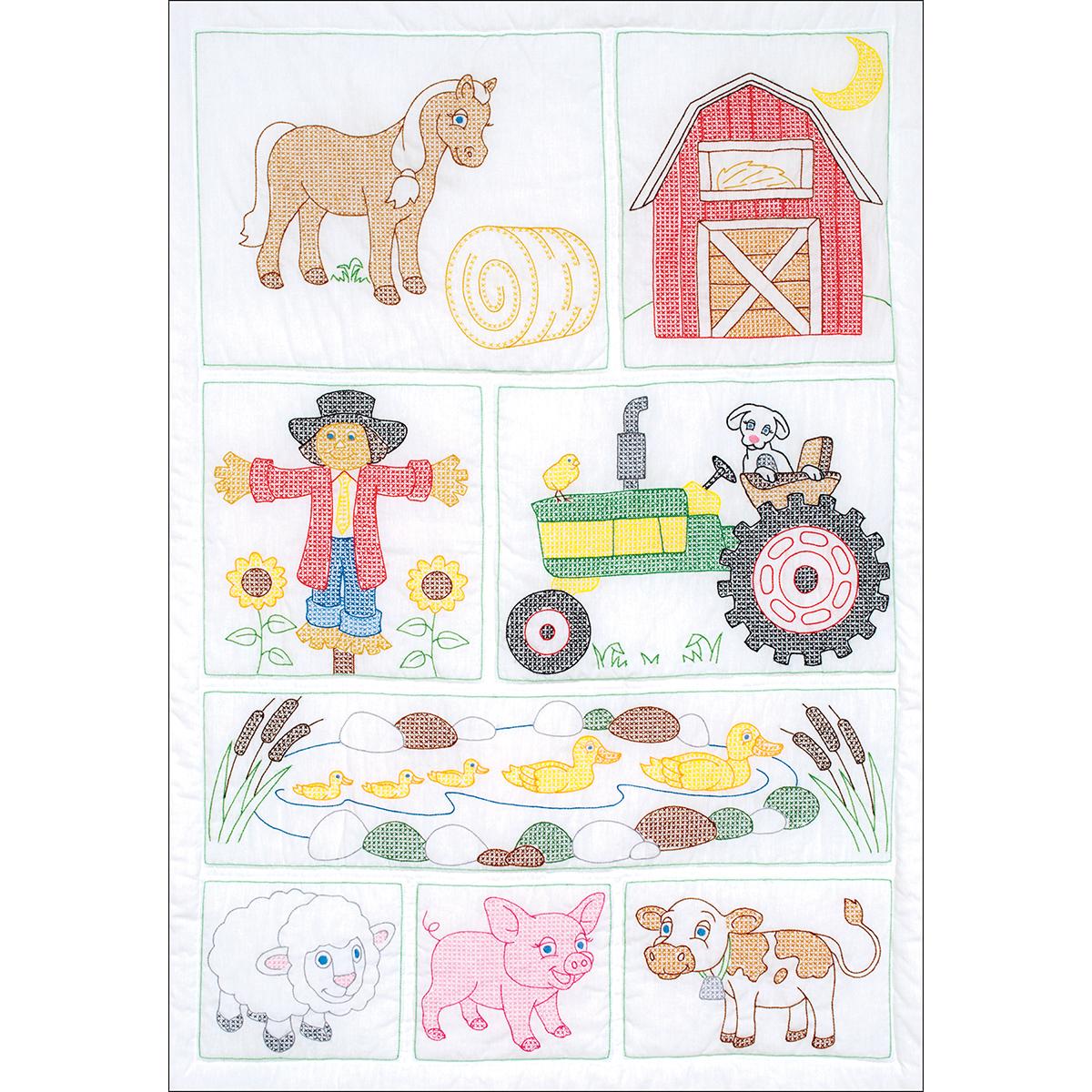 Stamped Embroidery Crib Top - Barn Yard