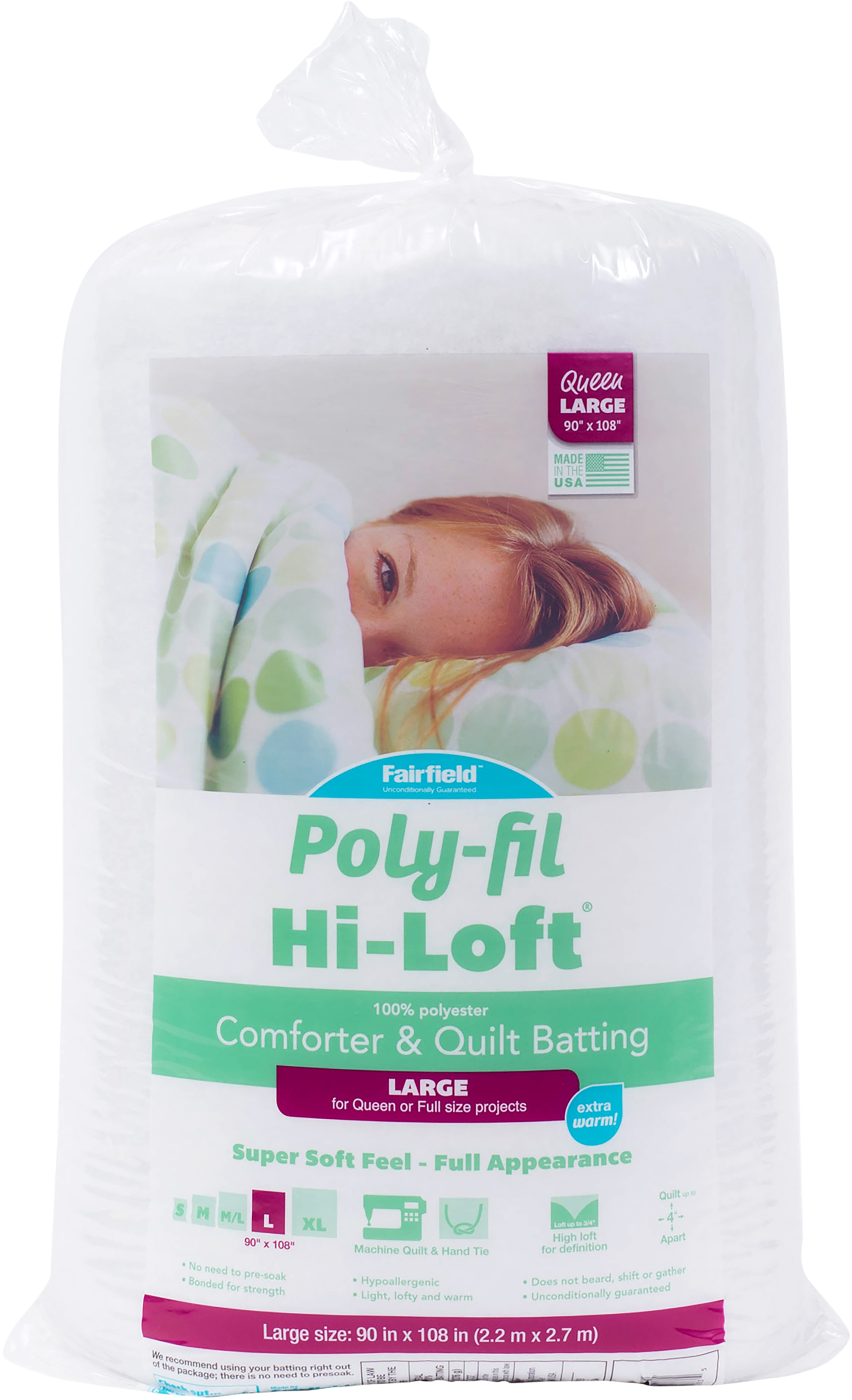 Fairfield Poly-Fil Hi-Loft Bonded Polyester Quilt Batting-Queen Size FOB: MI