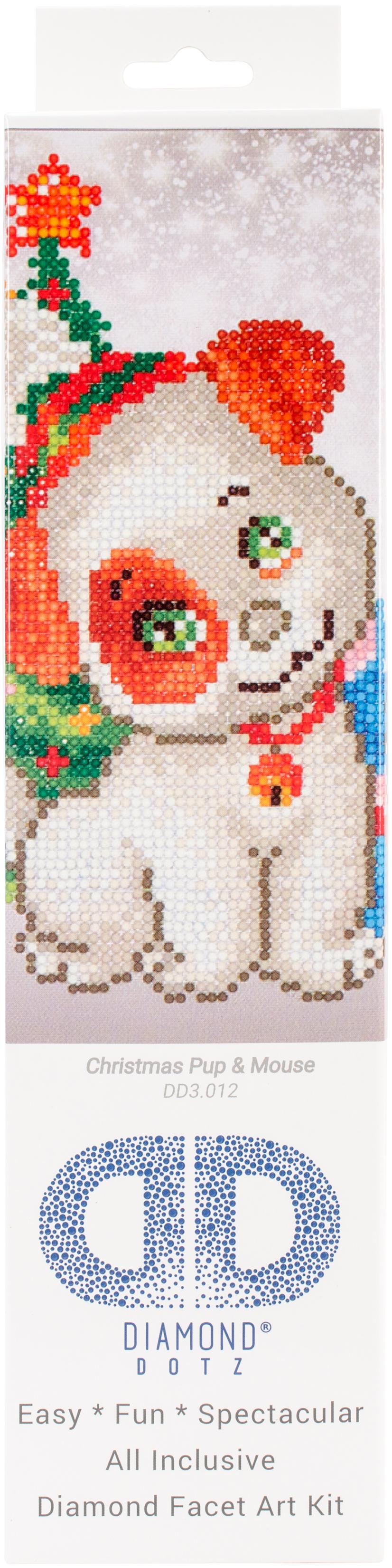 Diamond Dotz Diamond Embroidery Facet Art Kit 11X11.75-Christmas Pup & Mouse