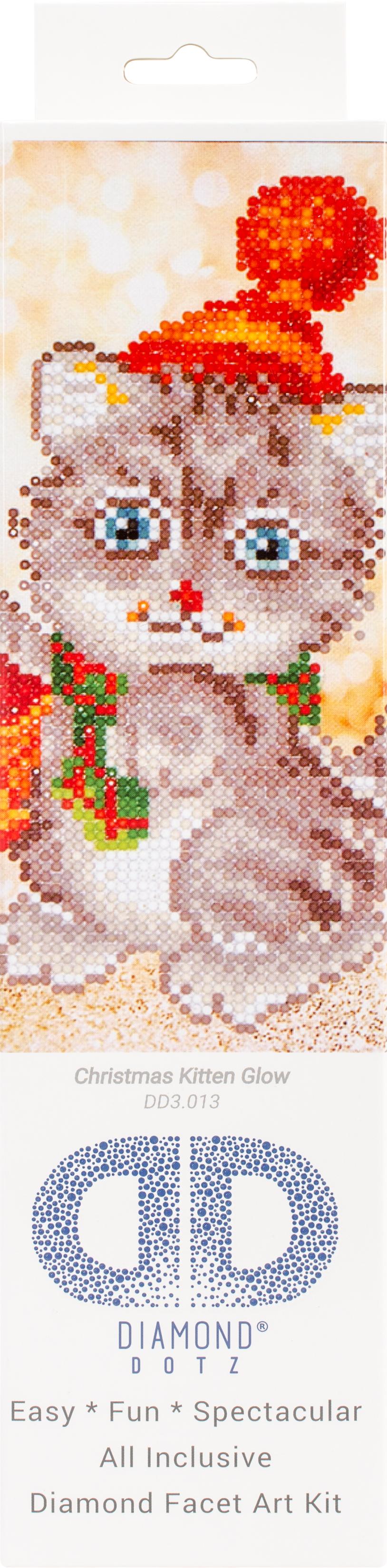 Diamond Dotz Diamond Embroidery Facet Art Kit 11X11.75-Christmas Kitten Glow