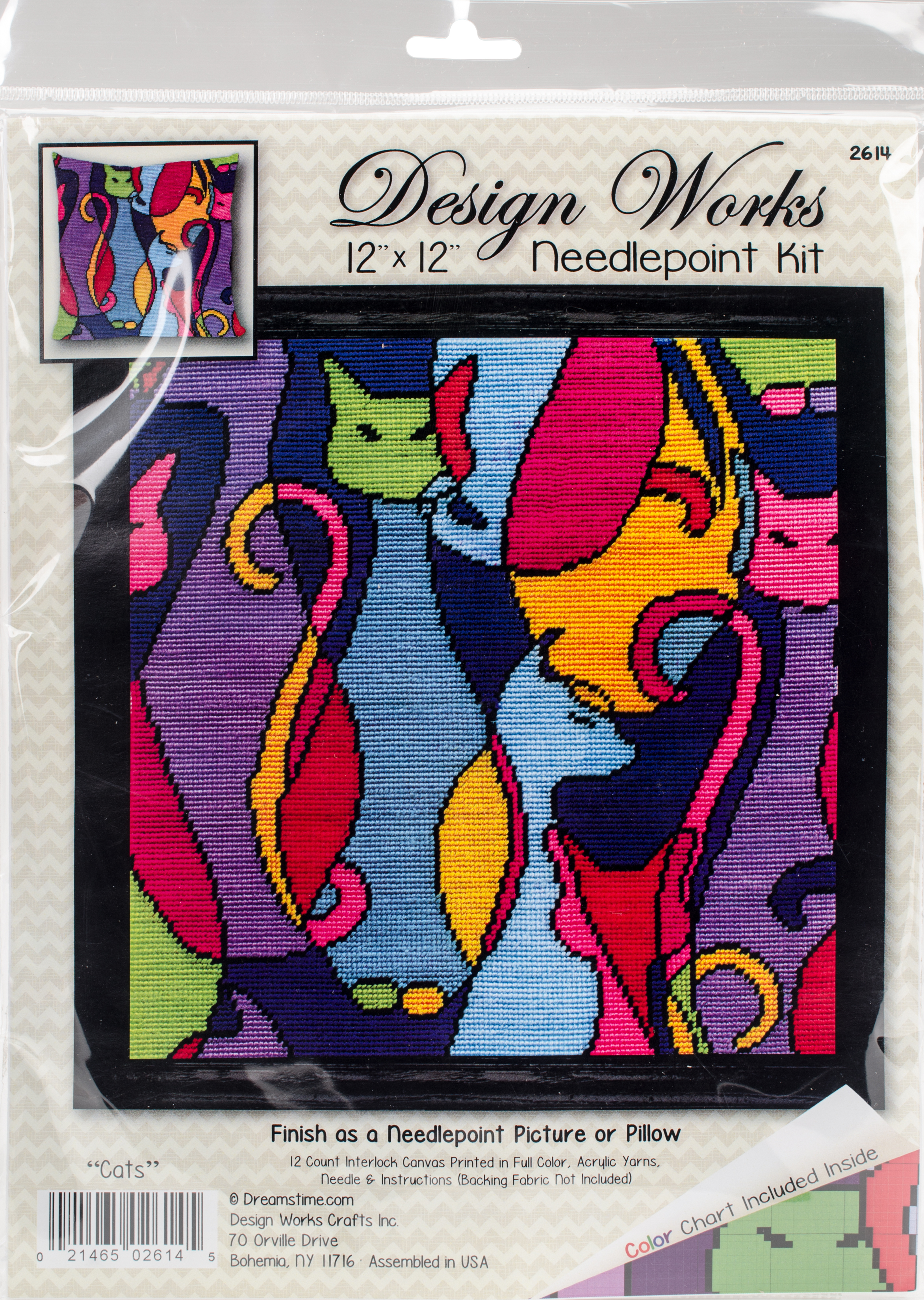 Design Works Needlepoint Kit 12X12-Colorful Cat-Stitched In Yarn