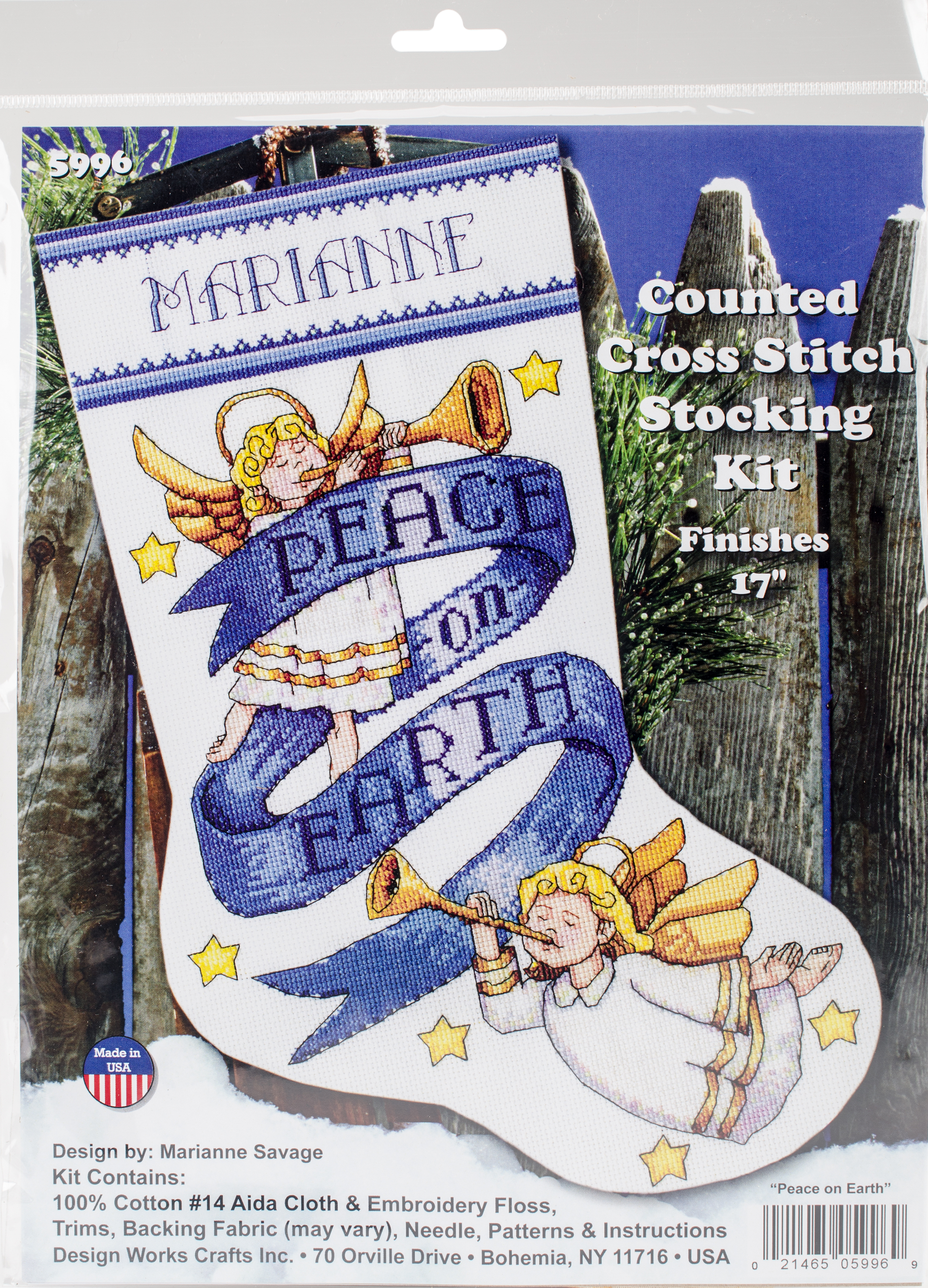 Peace on Earth Counted Cross Stitch Stocking Kit