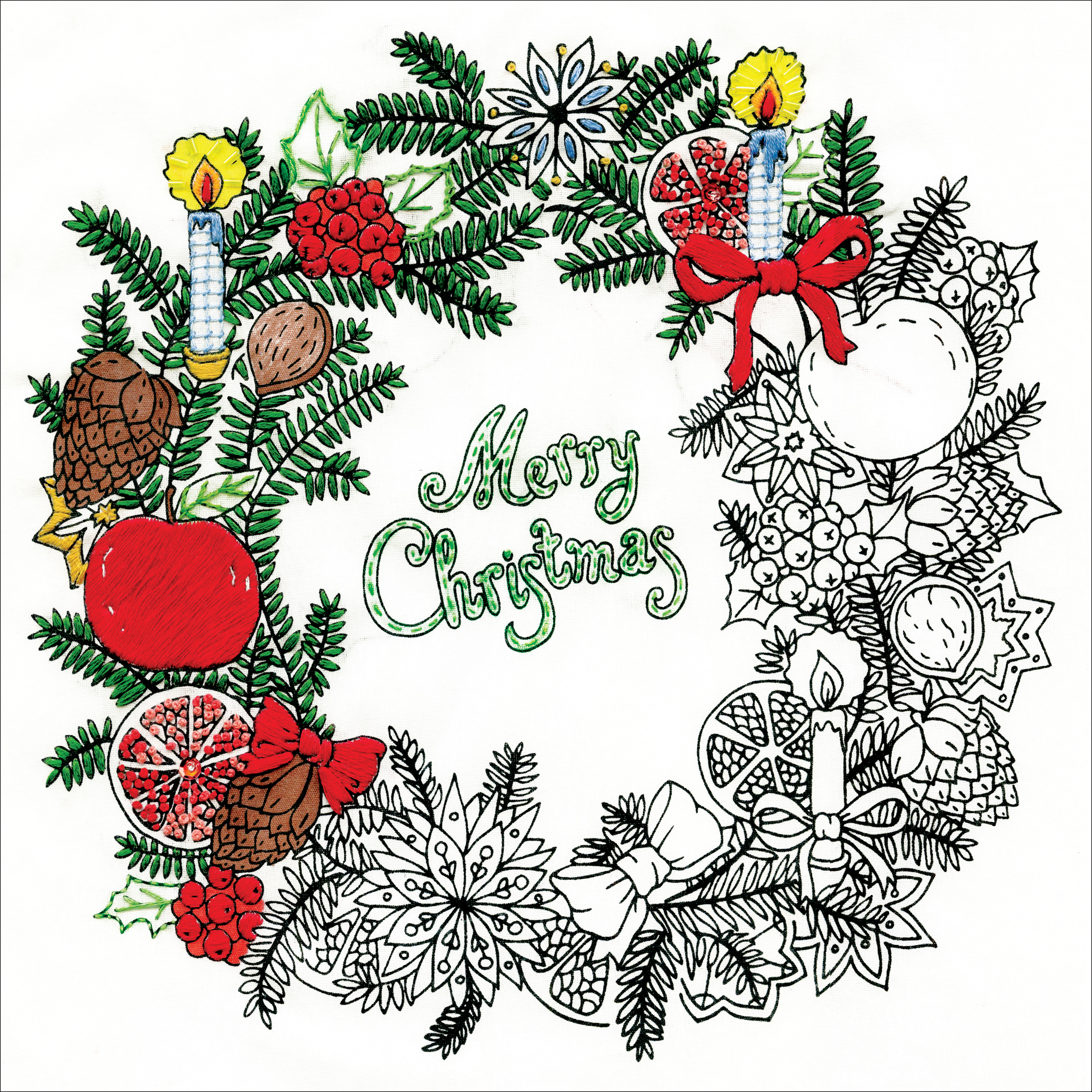 Design Works/Zenbroidery Stamped Embroidery Kit 10X10-Christmas Wreath