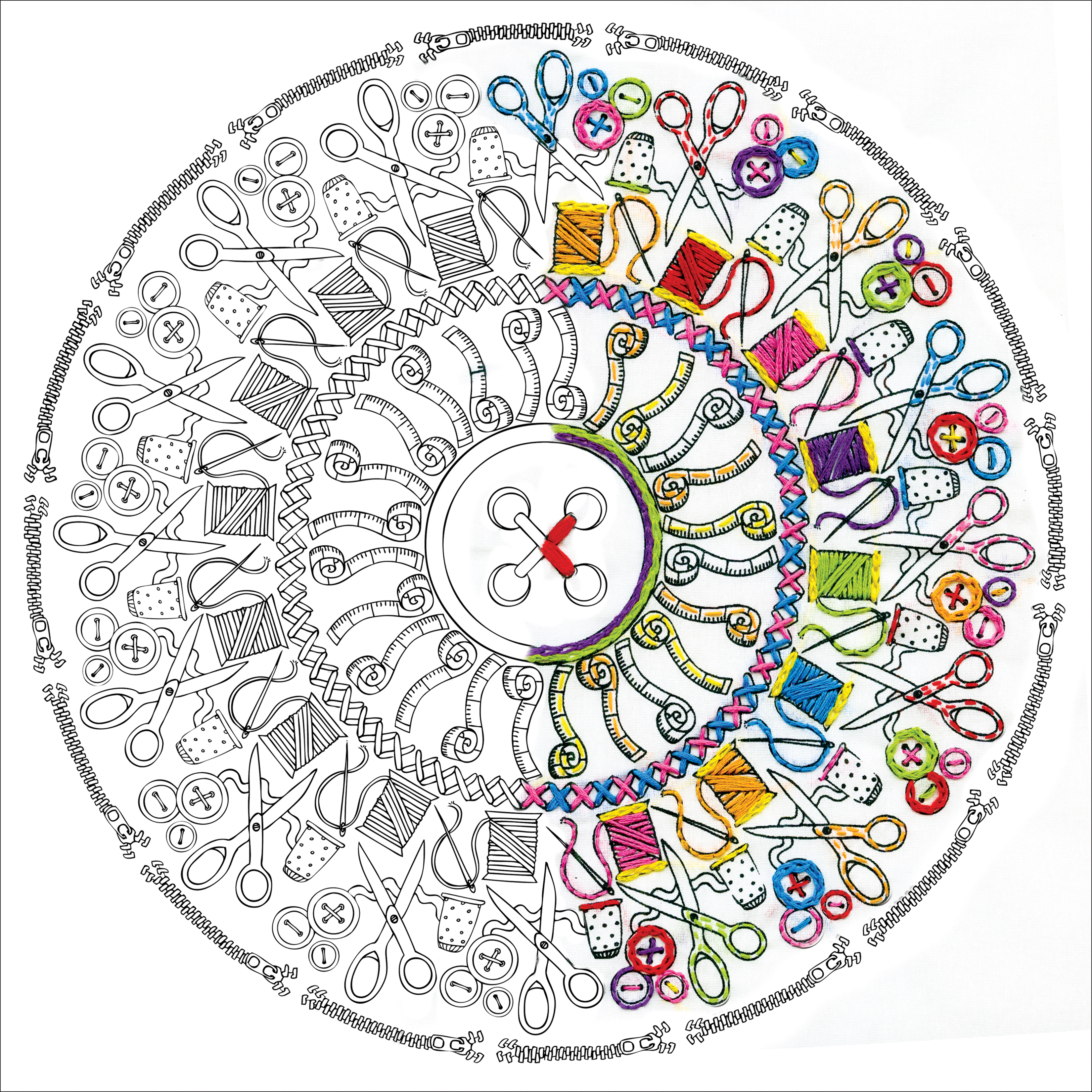 Design Works/Zenbroidery Stamped Embroidery Kit 12X12-Sewing Mandala