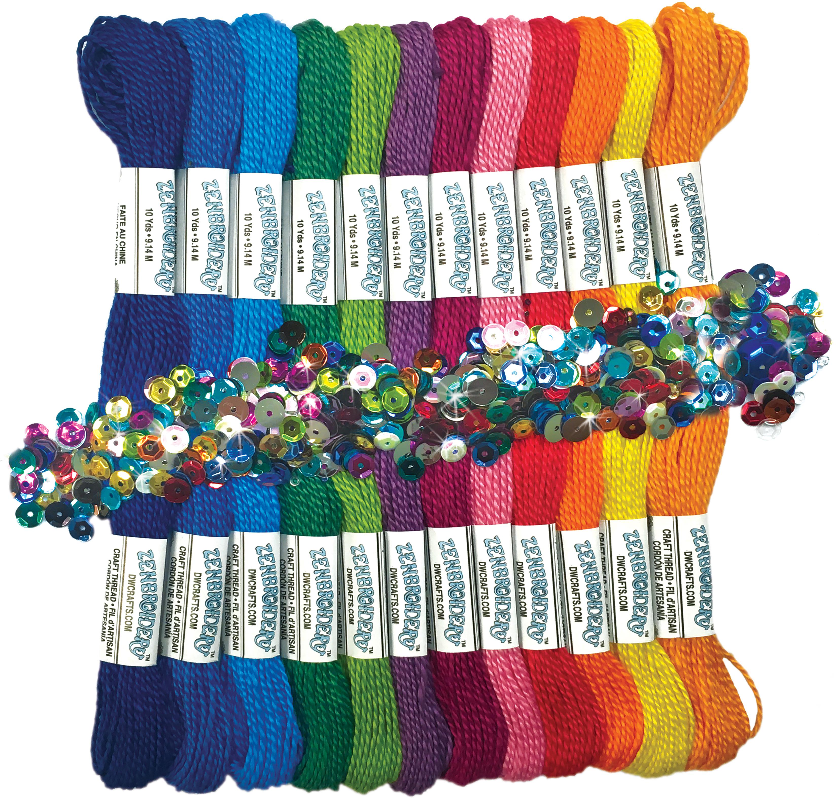Design Works/Zenbroidery Stitching Trim Pack 12/Pkg-Rainbow