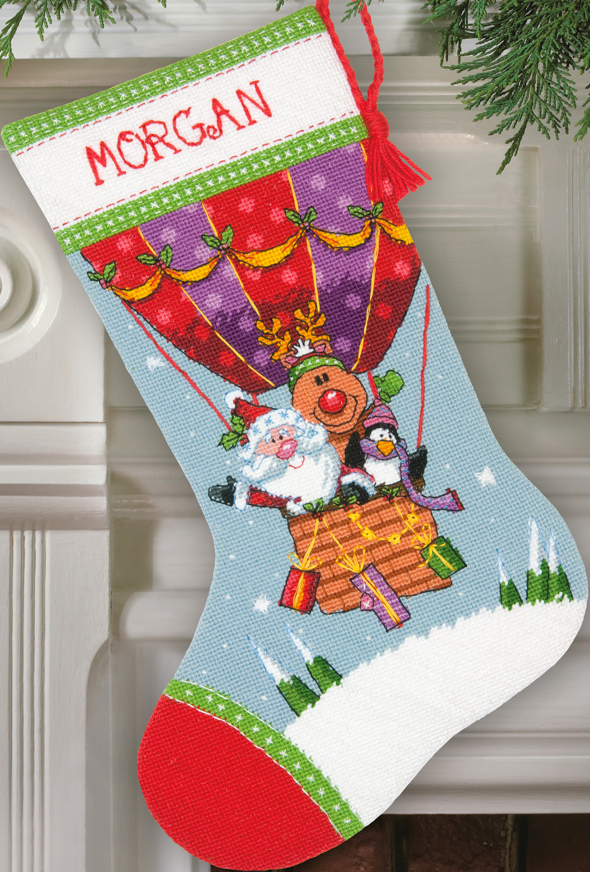 Santa's Balloon Ride Stocking Needlepoint Kit