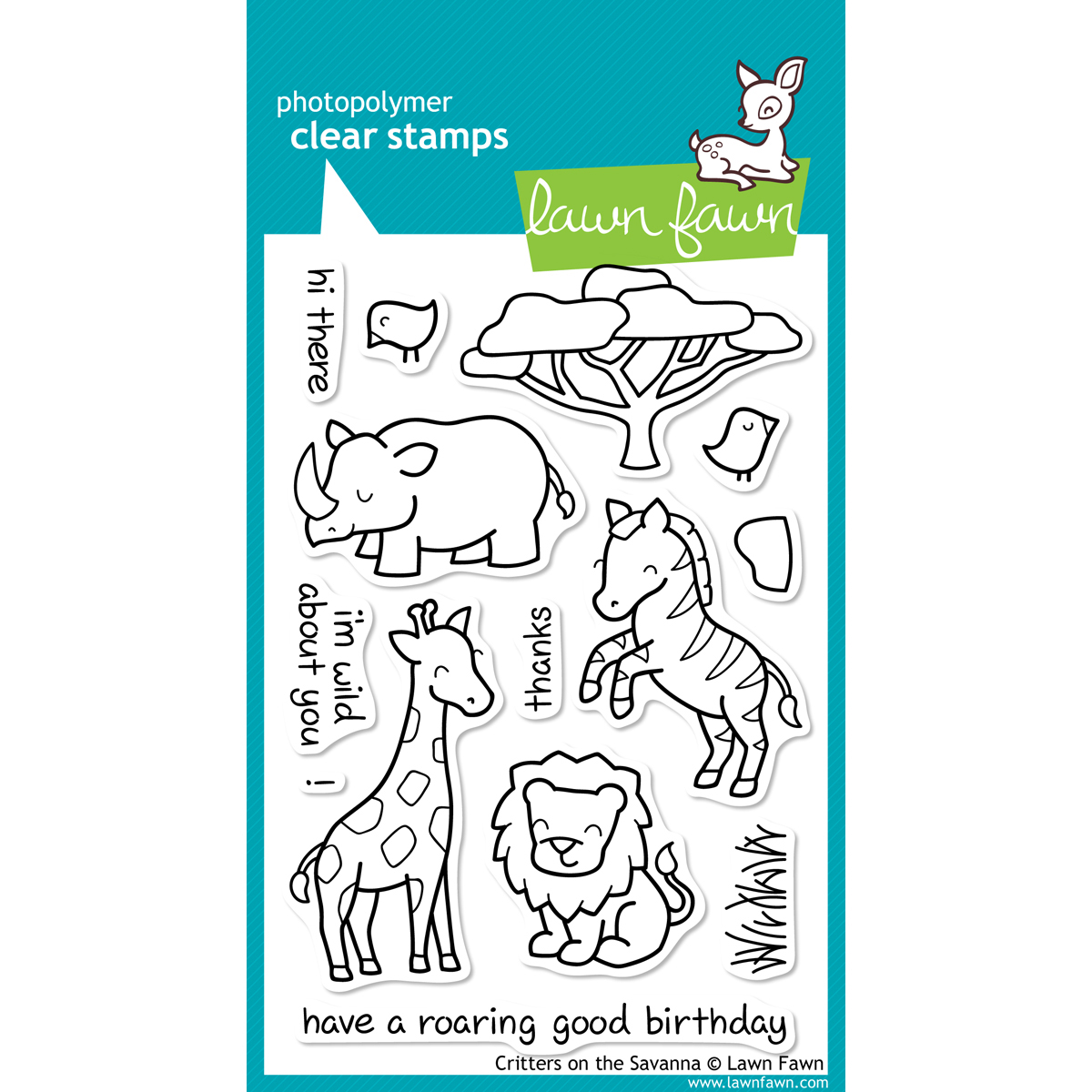 Lawn Fawn Clear Stamps 4X6-Critters On The Savanna