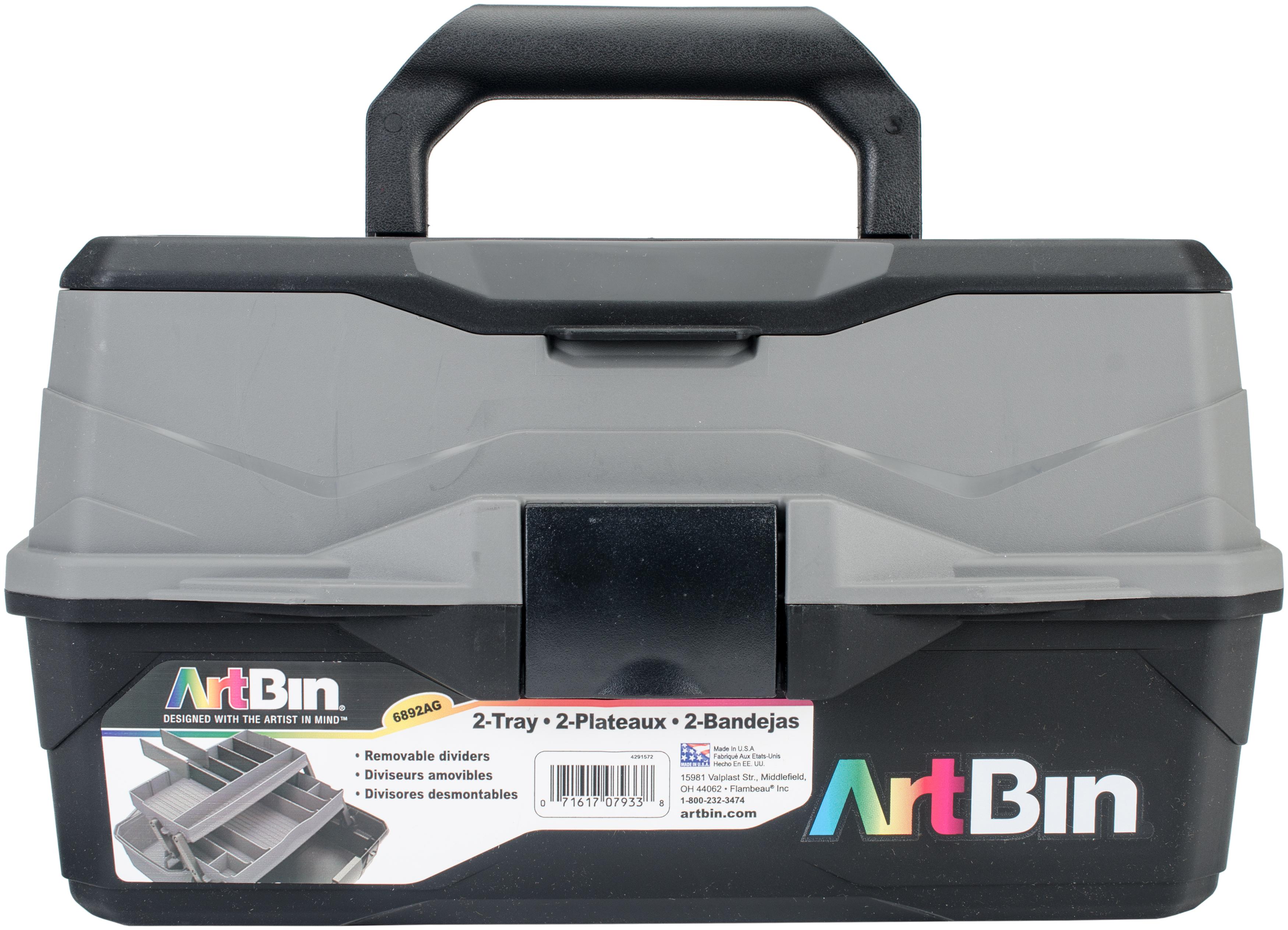 ArtBin Lift Tray Box W/2 Trays & Quick Access Lid Storage-8X14X7.5, Black & Gray
