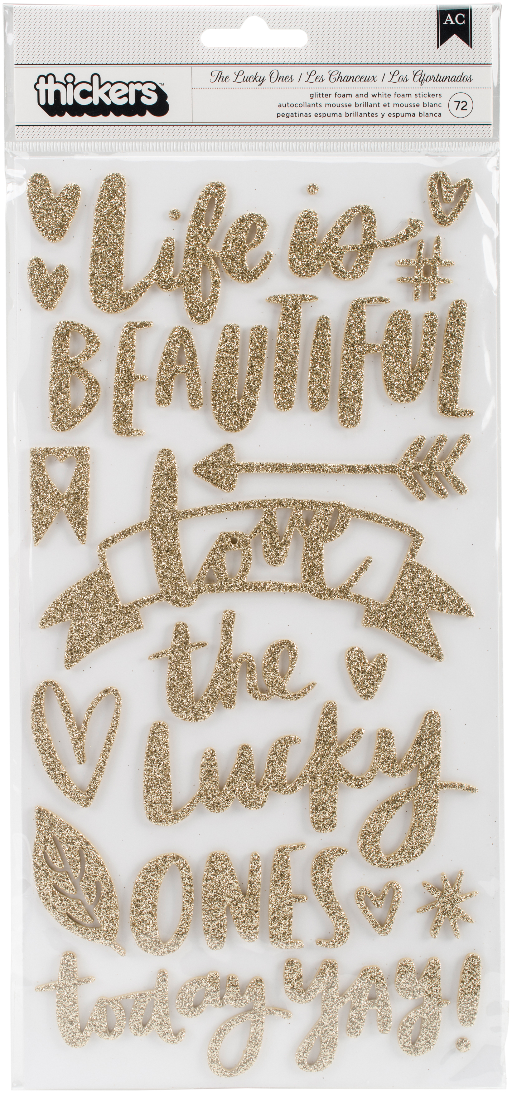 Hustle & Heart Thickers Stickers Phrase, Gold Glitter & White