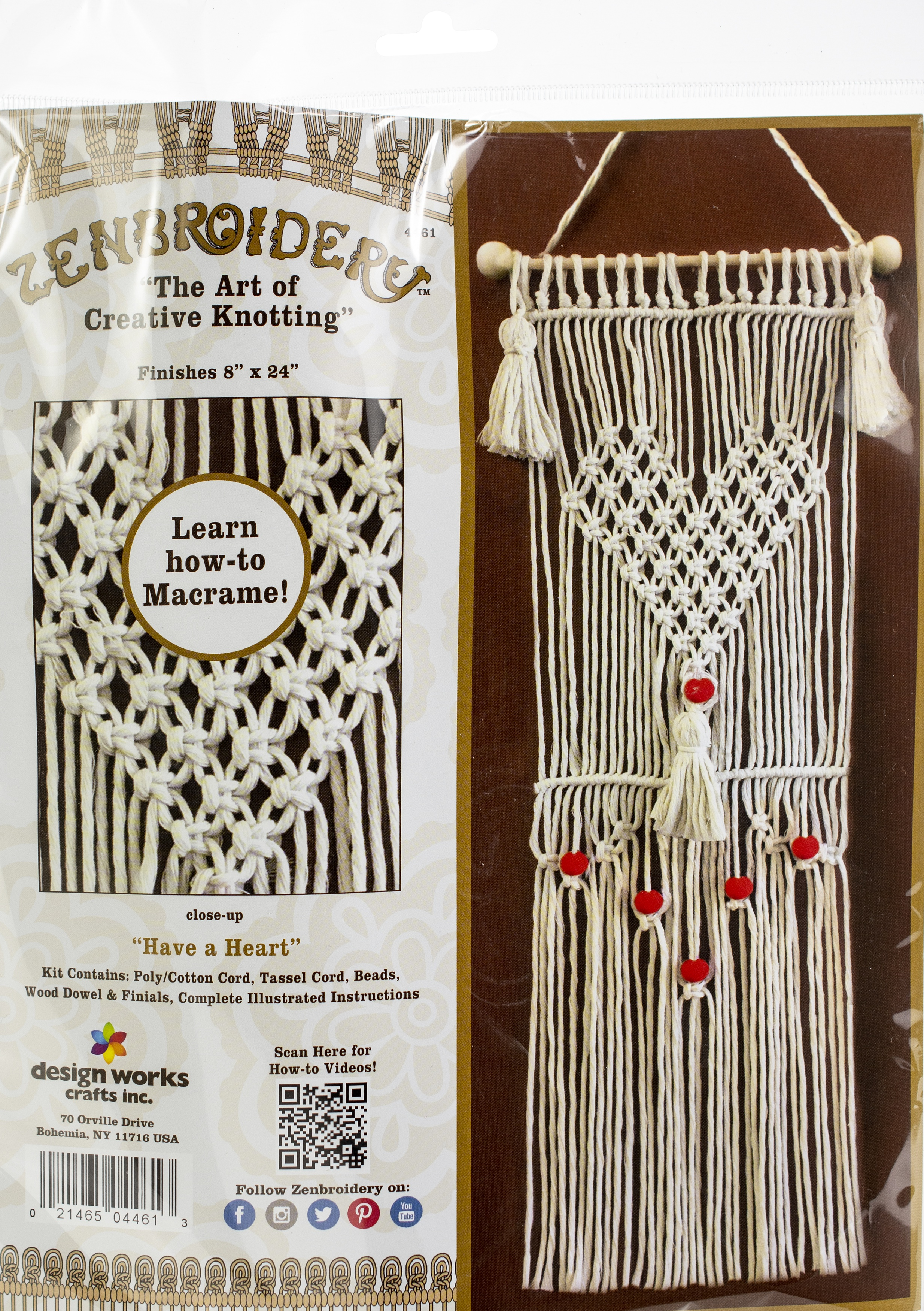 Design Works/Zenbroidery Macrame Wall Hanging Kit 8X24-Have A Heart