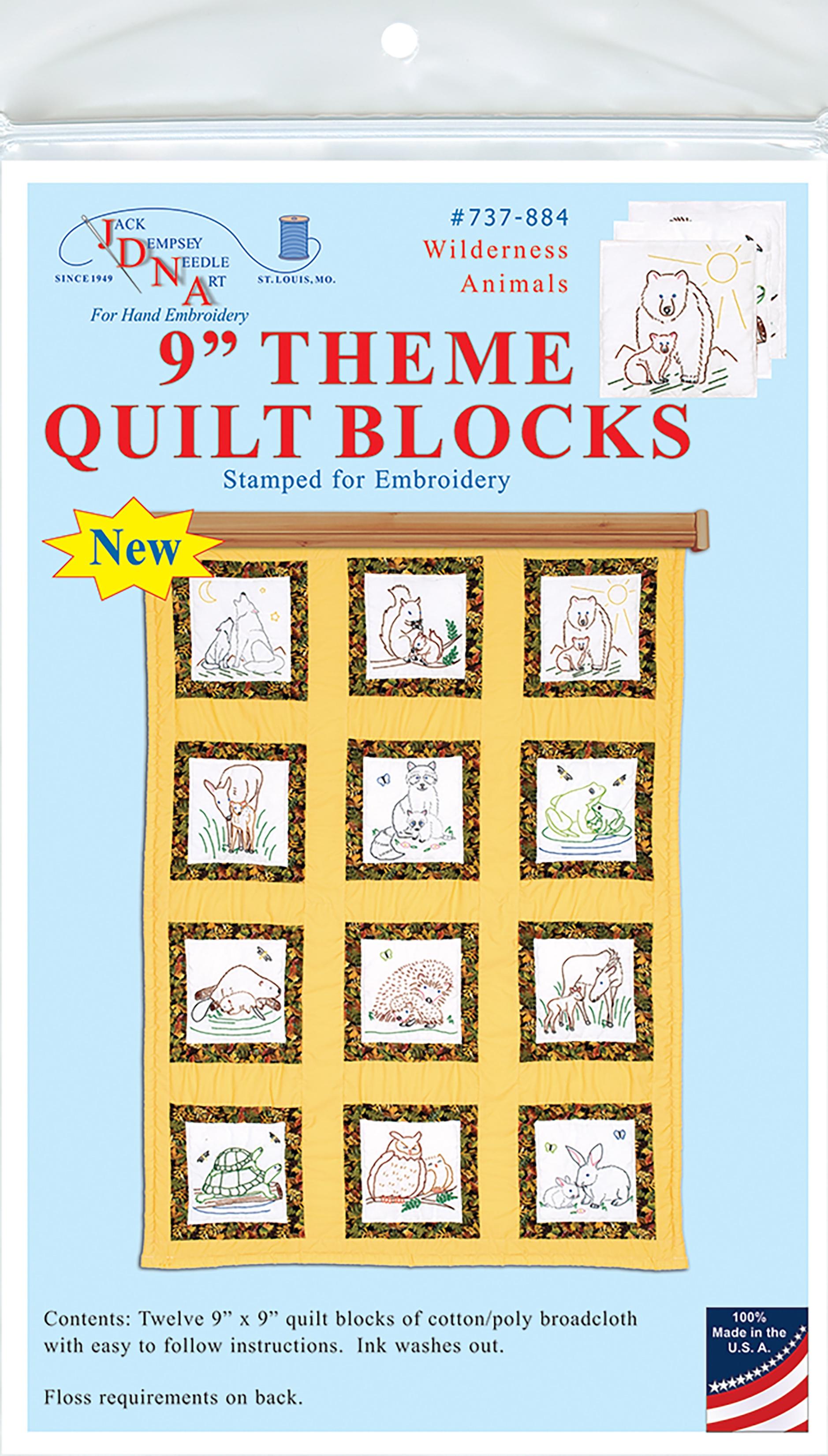 Jack Dempsey Themed Stamped White Quilt Blocks 9X9 12/Pkg-Wilderness Animals
