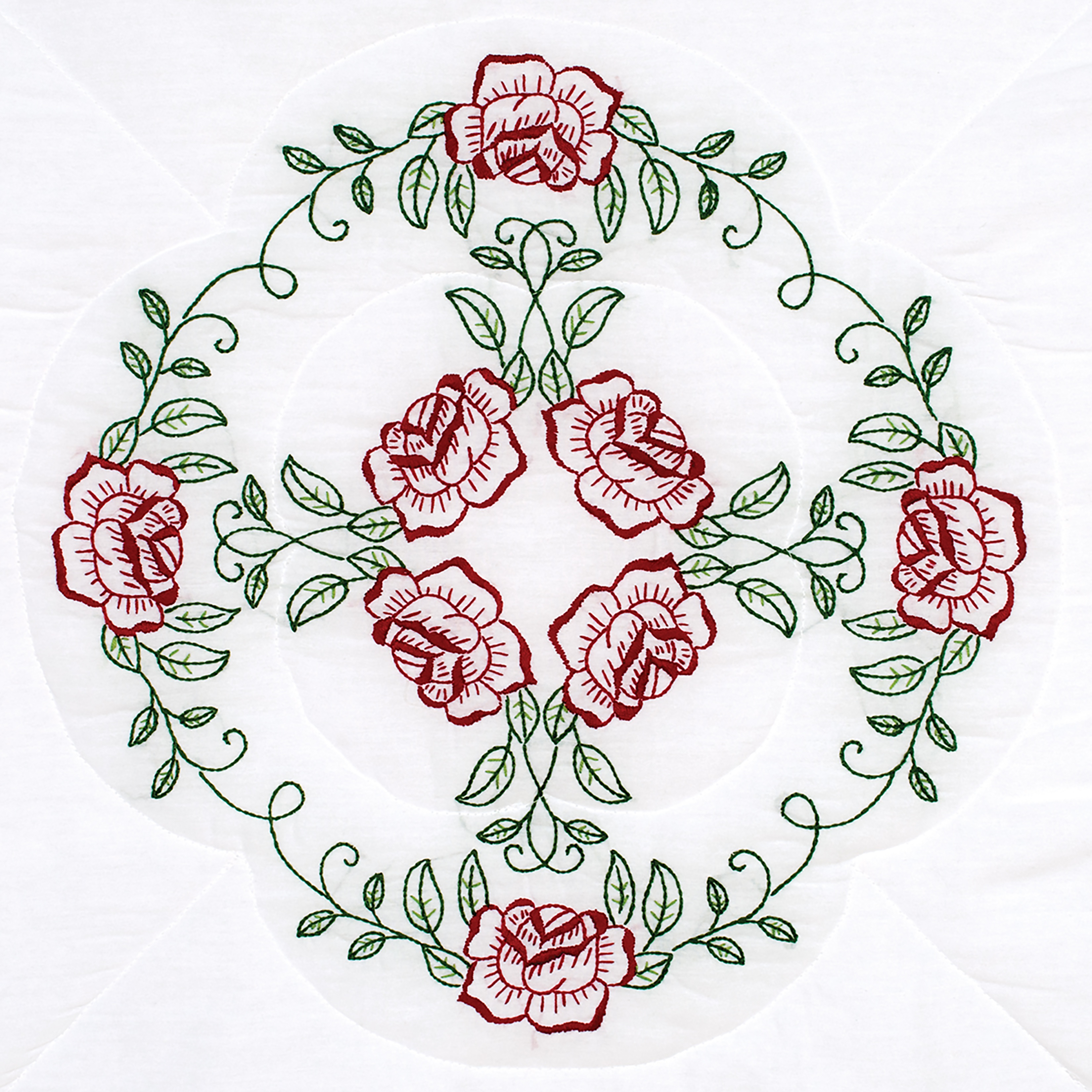 Stamped Embroidery Blocks - 18in - Circle of Roses