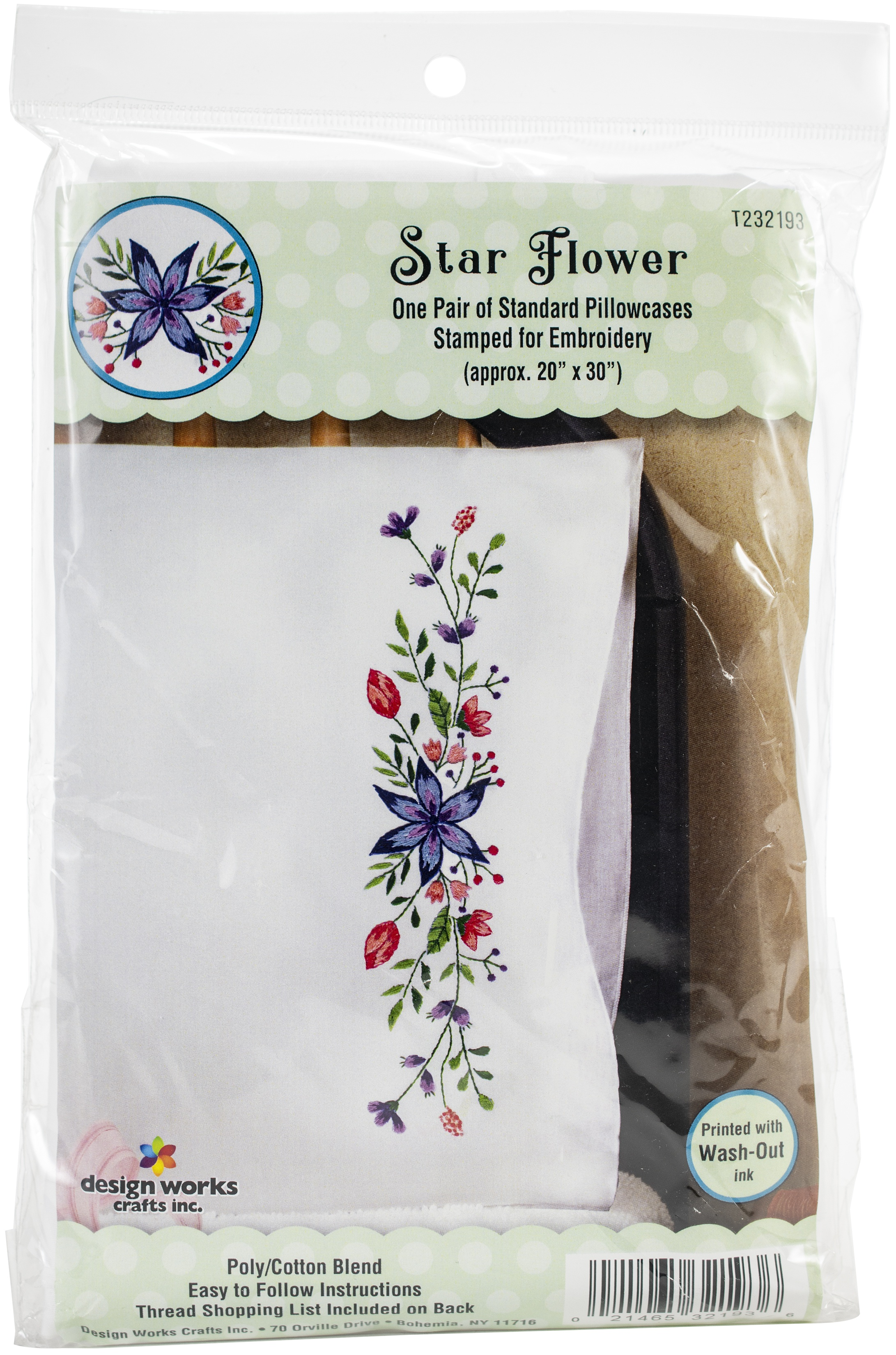 Tobin Stamped For Embroidery Pillowcase Pair 20X30-Star Flower