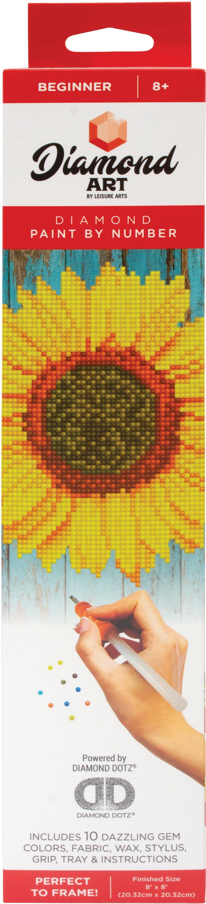 Leisure Arts Diamond Art Beginner Kit 8X8 -Sunflower