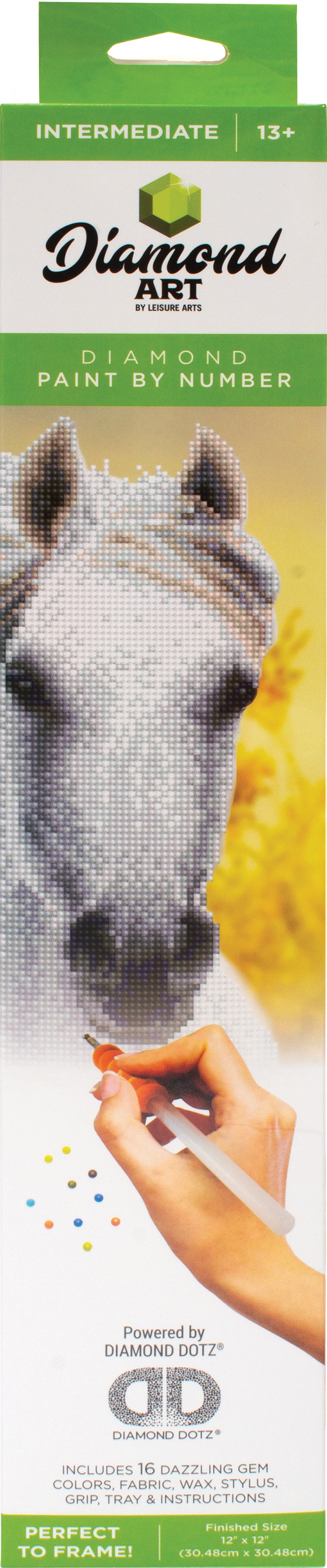 Diamond Art Kit 12x12 Intermediate White Horse