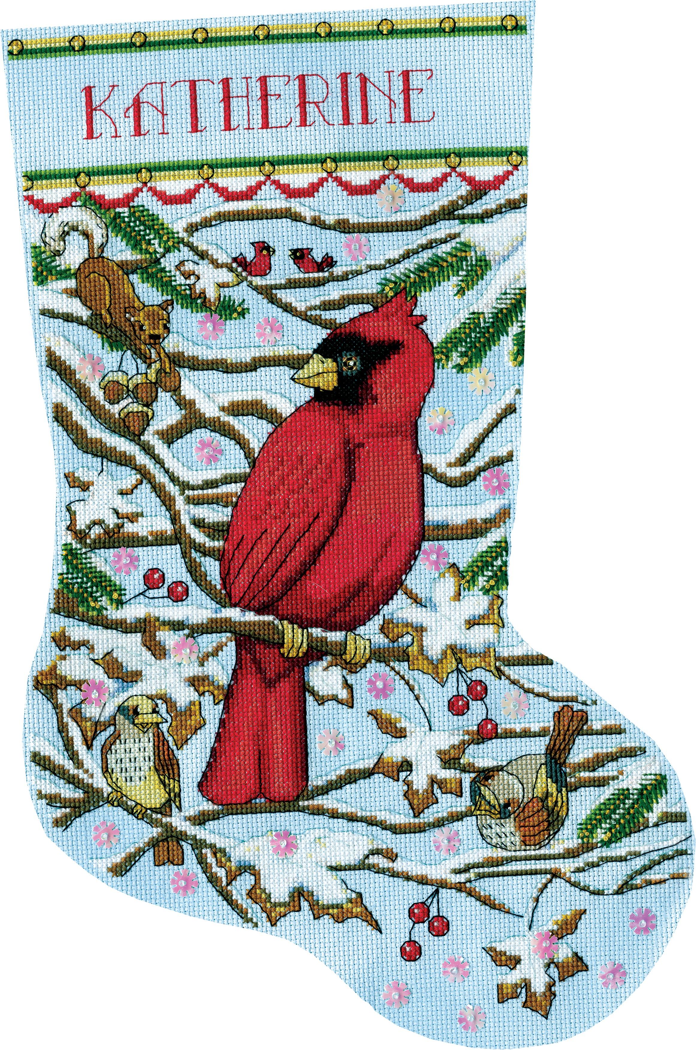 Cardinal Counted Cross Stitch Stocking Kit