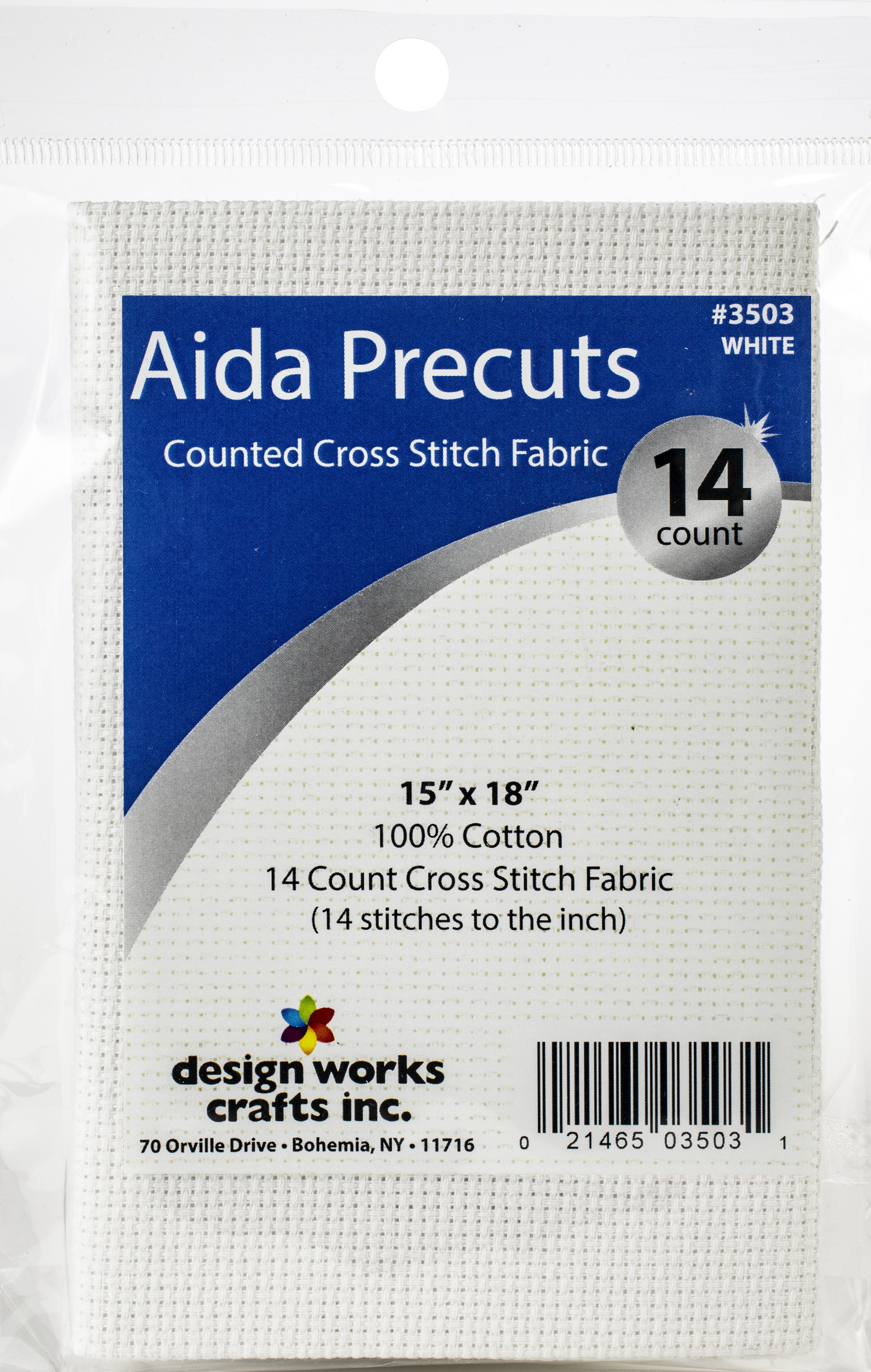 Design Works Gold Quality Aida 14 Count 15X18-White