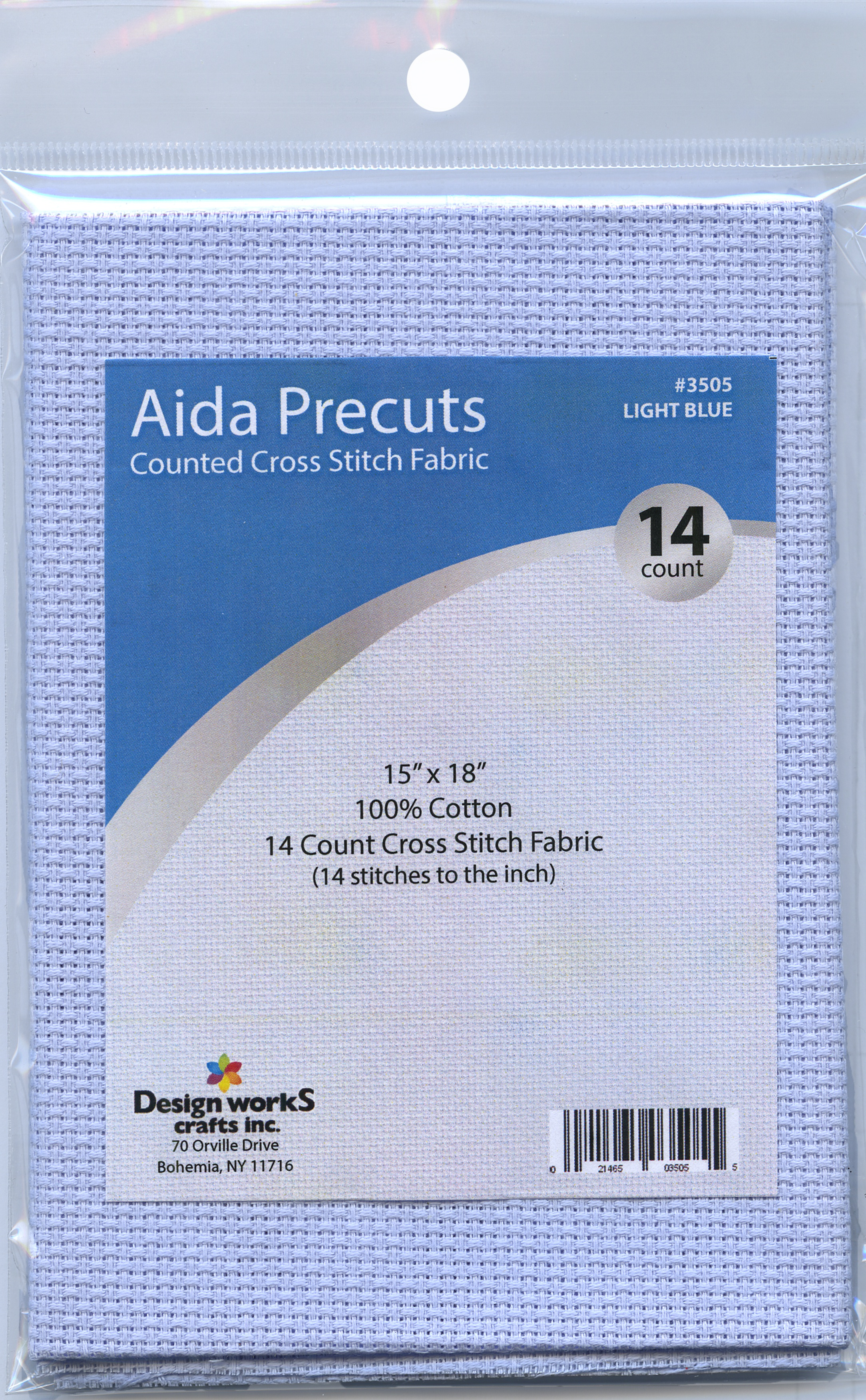 Design Works Gold Quality Aida 14 Count 15X18-Light Blue