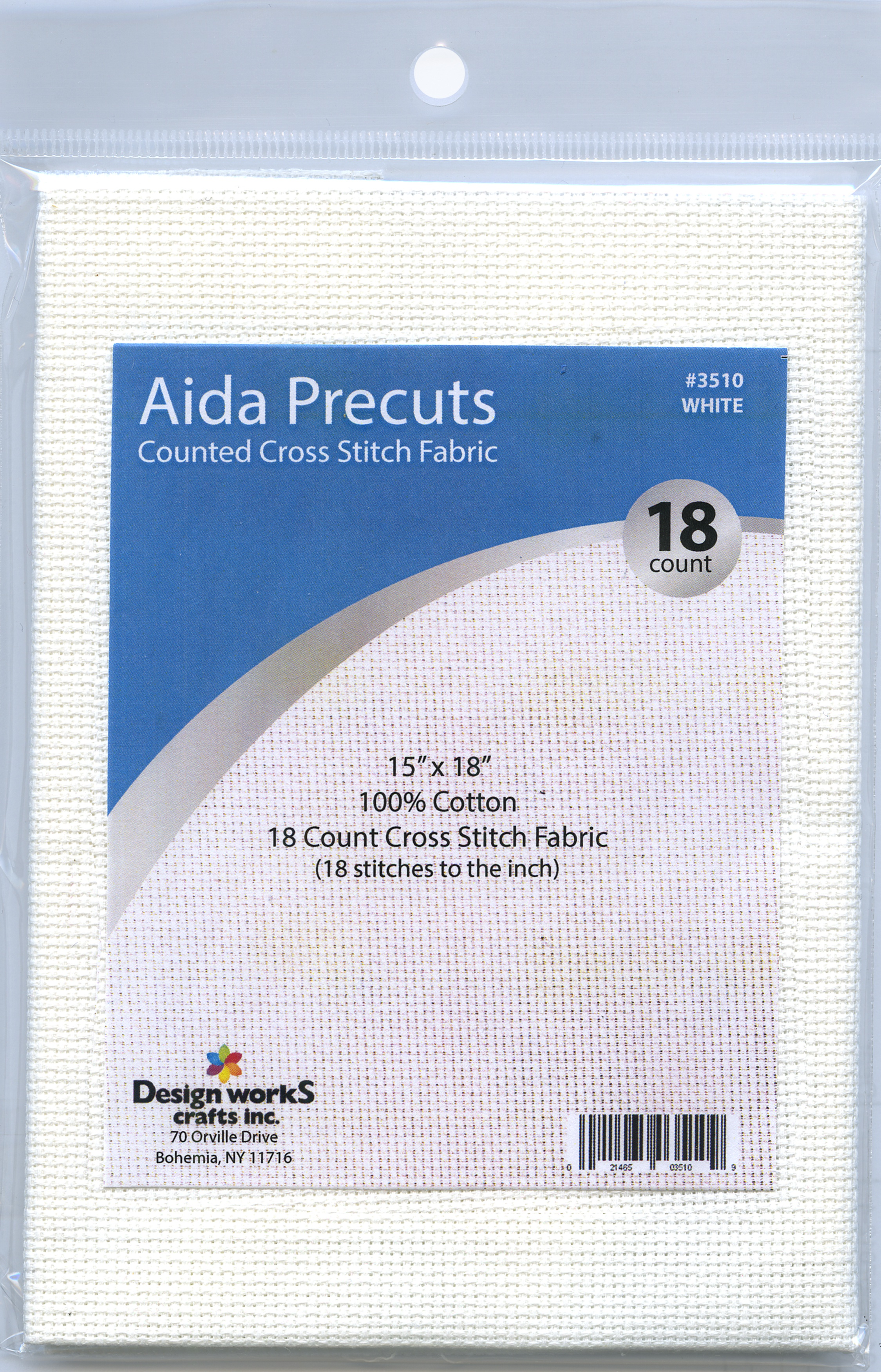 Design Works Gold Quality Aida 18 Count 15X18-White