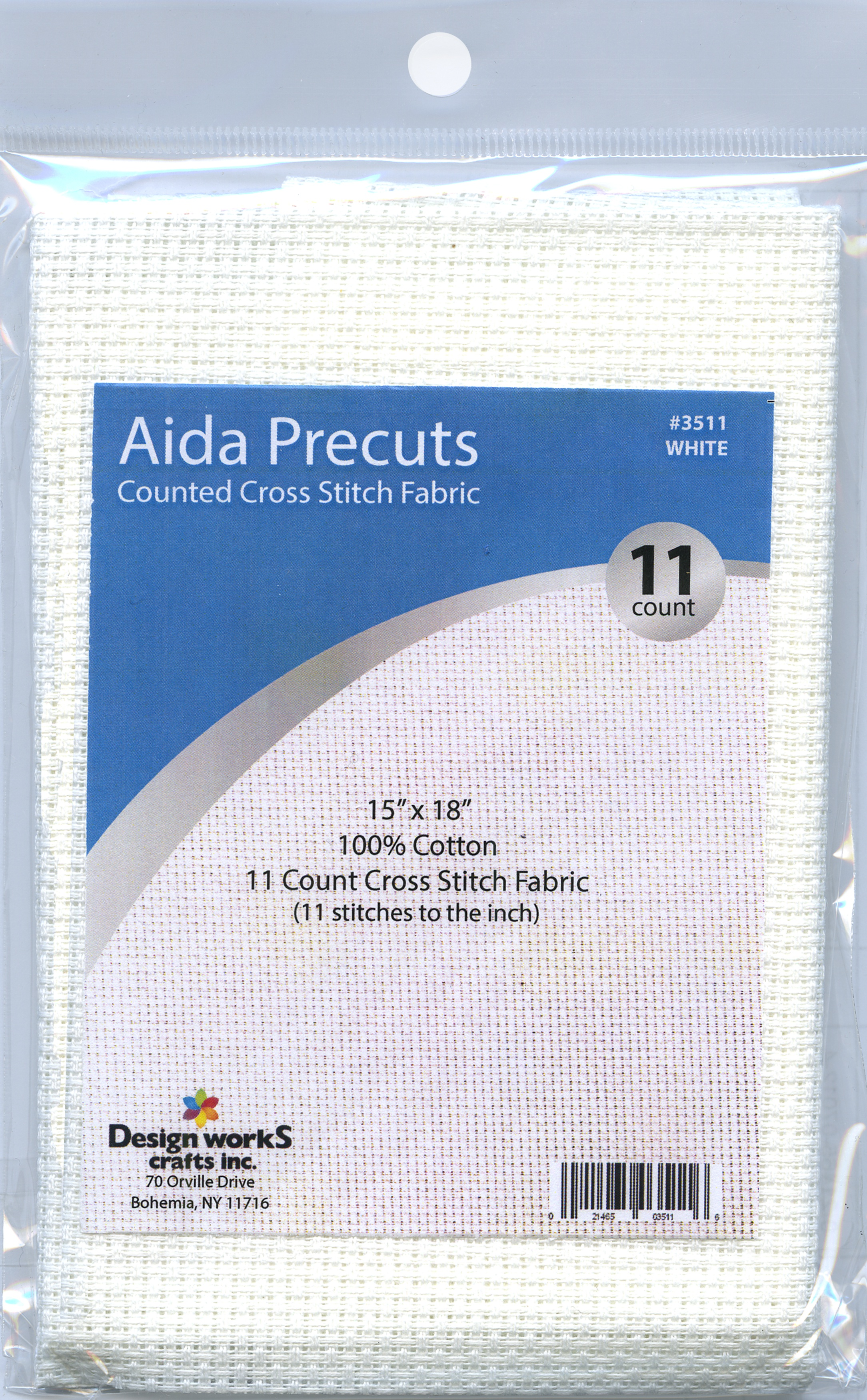 Design Works Gold Quality Aida 11 Count 15X18-White
