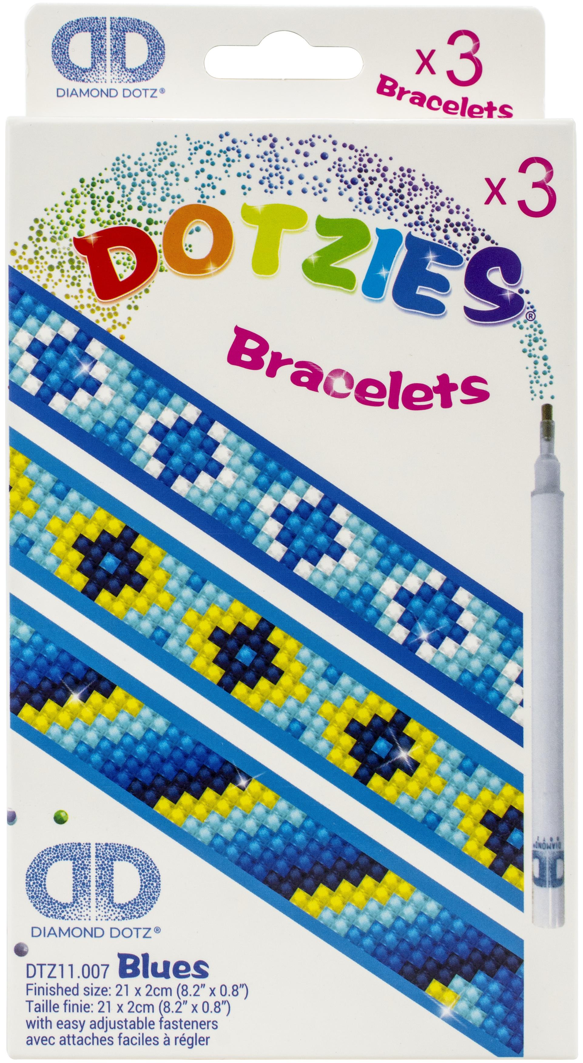 Diamond Dotz DOTZIES Bracelets Facet Art Kit 1X9-Assorted Blues 3/Pkg