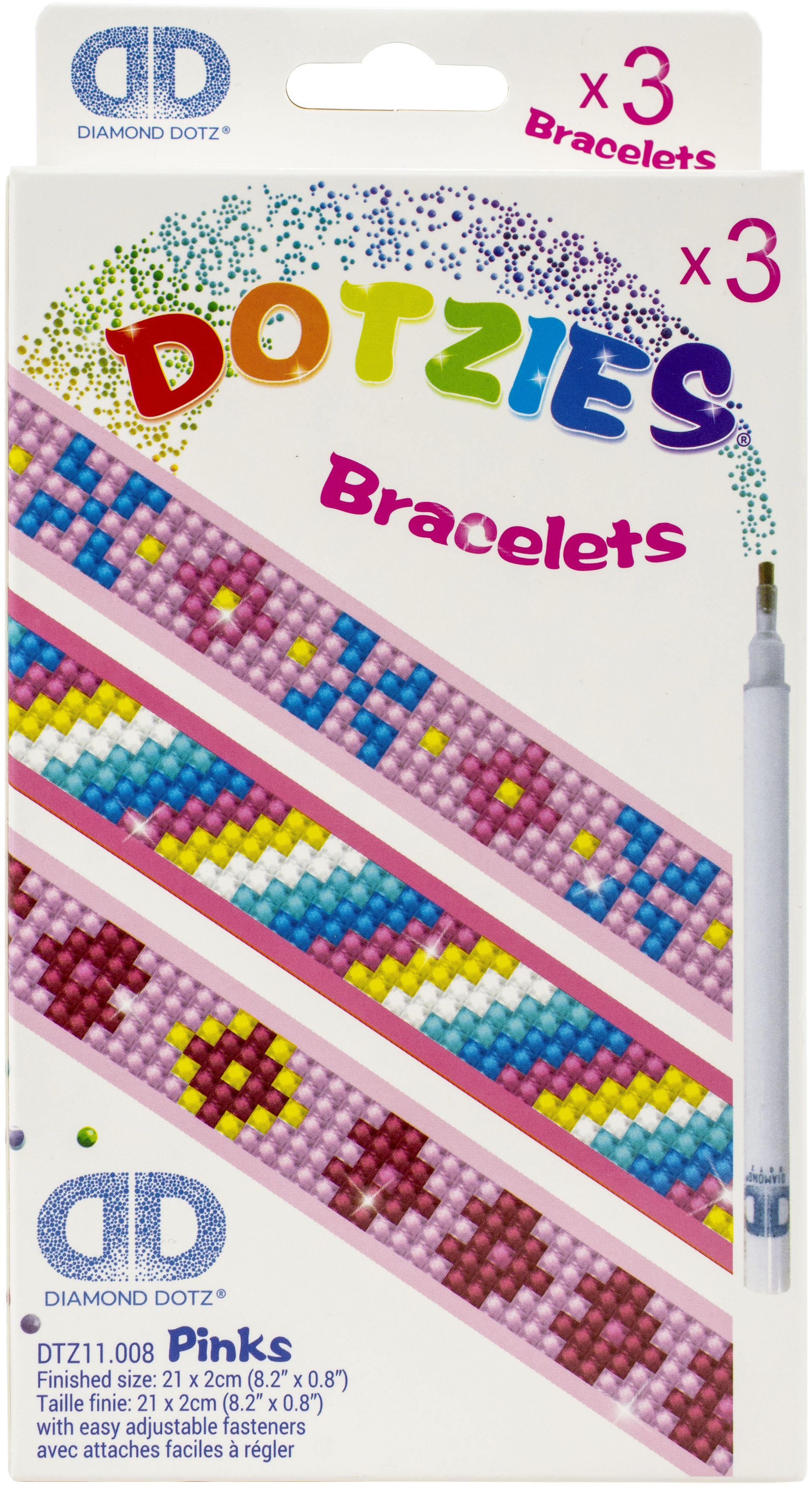 Diamond Dotz DOTZIES Bracelets Facet Art Kit 1X9-Assorted Pinks 3/Pkg