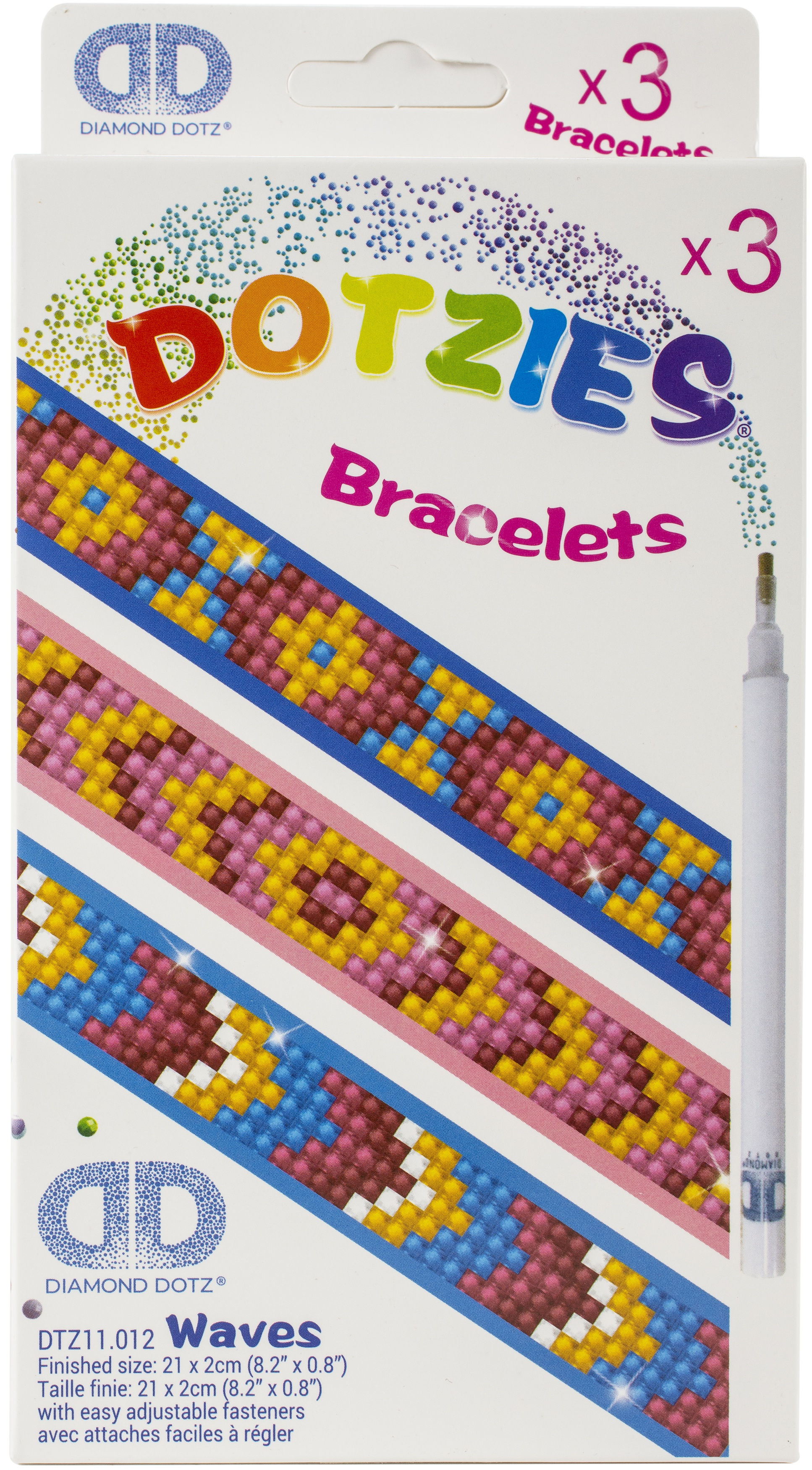 Diamond Dotz DOTZIES Bracelets Facet Art Kit 1X9-Assorted Waves 3/Pkg