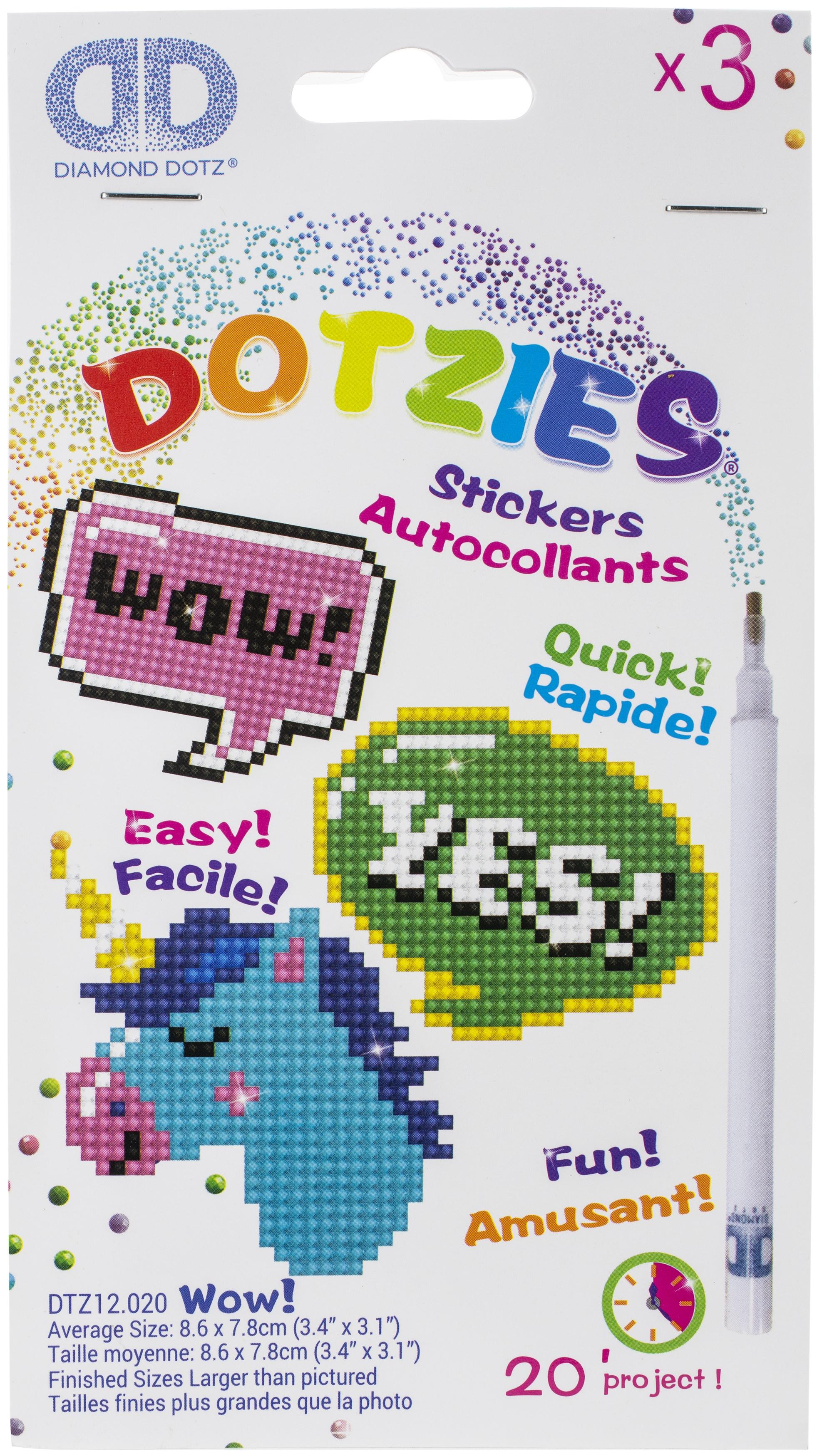 Diamond Dotz DOTZIES Stickers Facet Art Kit-Multi Pack Wow 3/Pkg