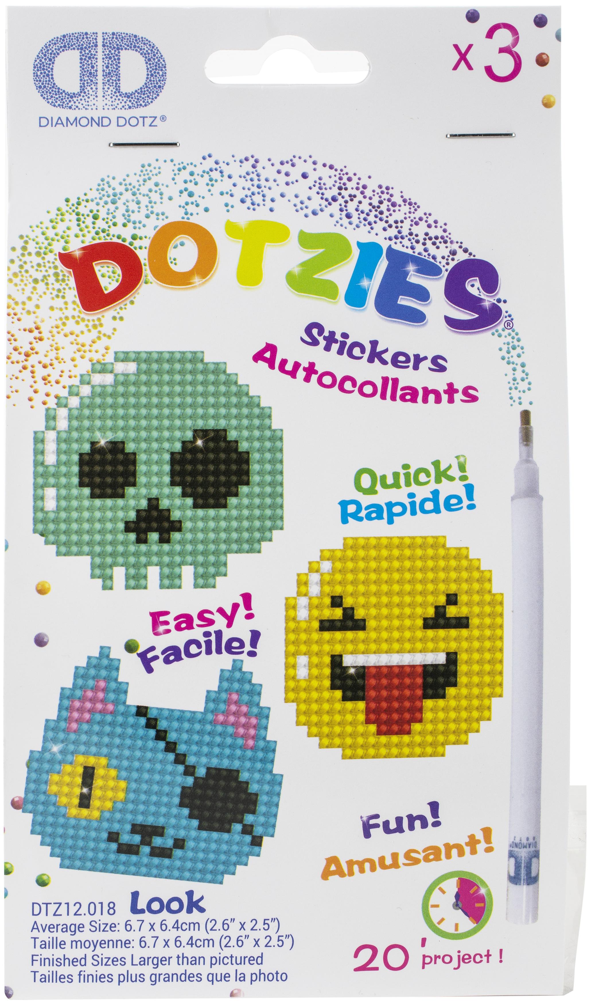 Diamond Dotz DOTZIES Stickers Facet Art Kit-Multi Pack Look 3/Pkg