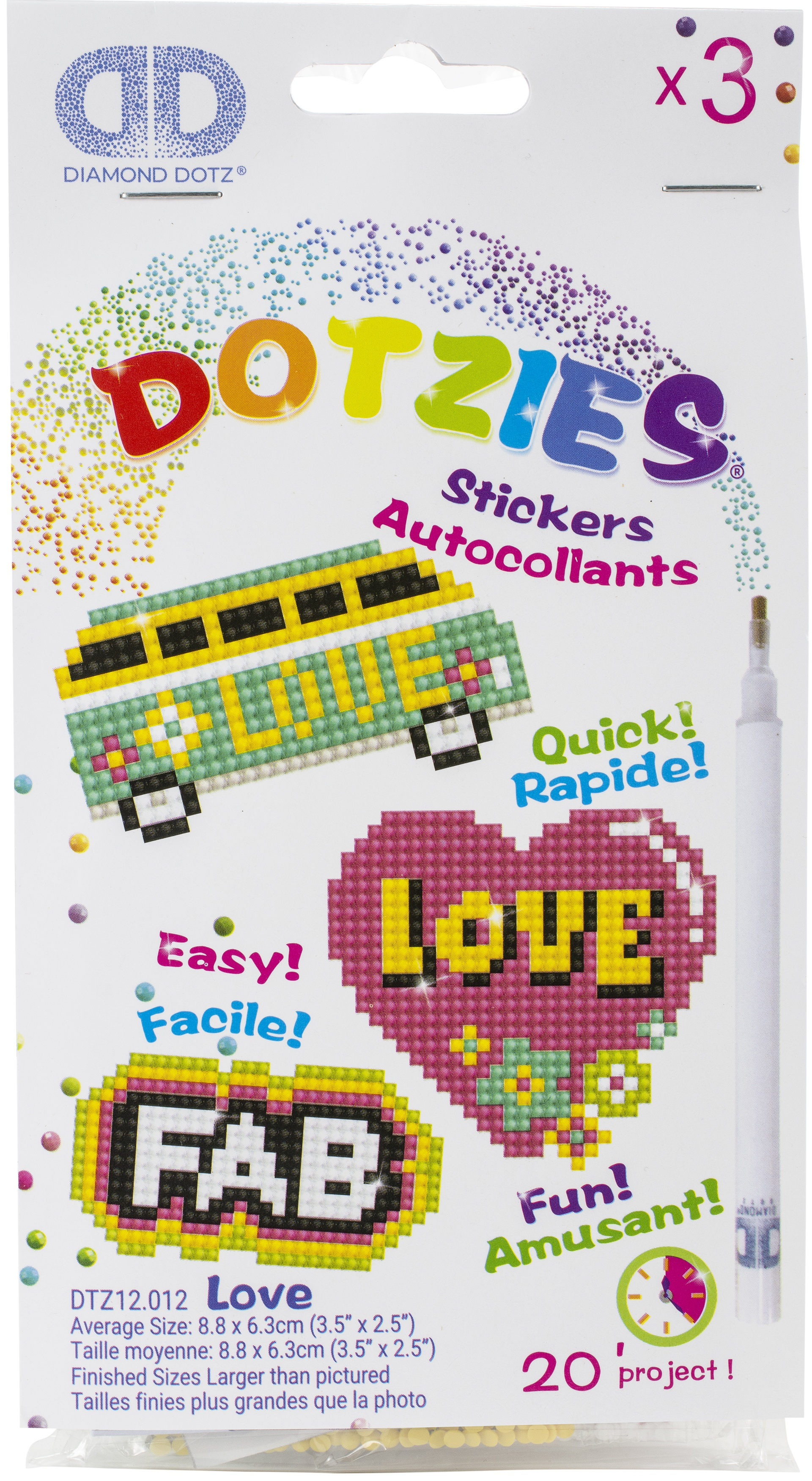 Diamond Dotz DOTZIES Stickers Facet Art Kit-Multi Pack Love 3/Pkg