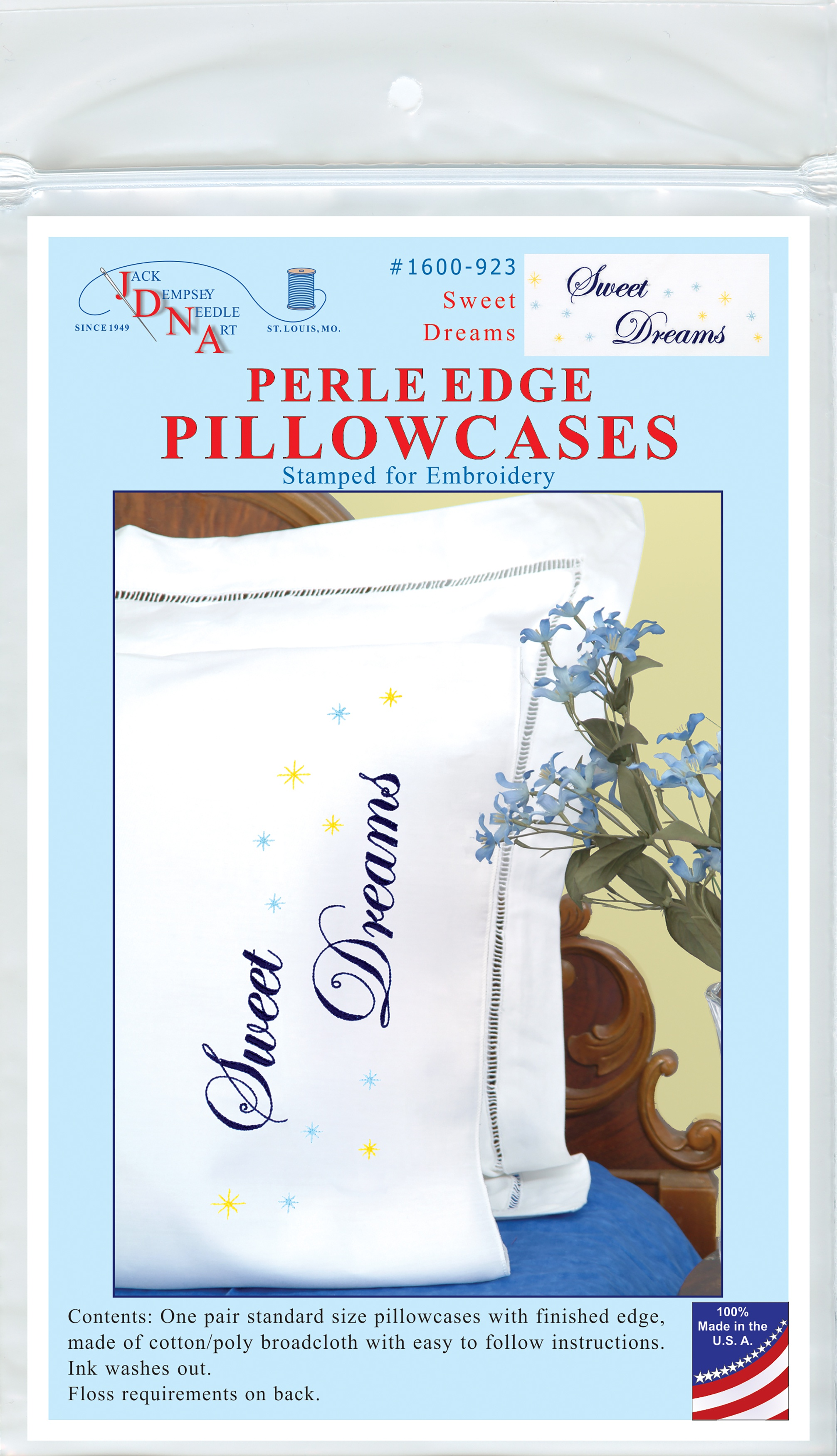 Jack Dempsey Stamped Pillowcases W/White Perle Edge 2/Pkg-Sweet Dreams