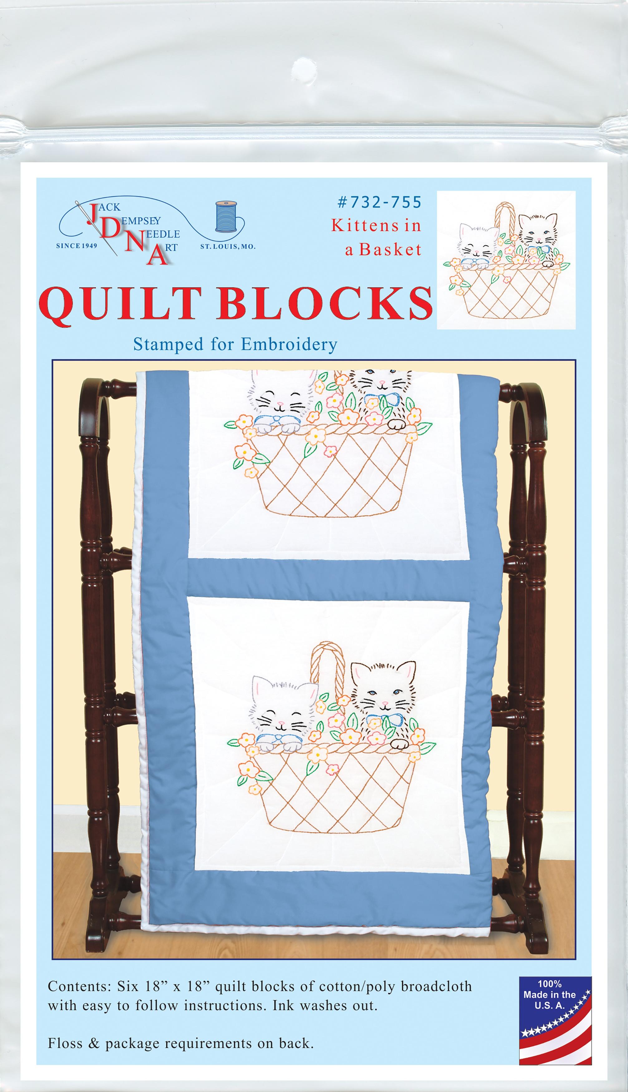 Jack Dempsey Stamped White Quilt Blocks 18X18 6/Pkg-Kittens In A Basket