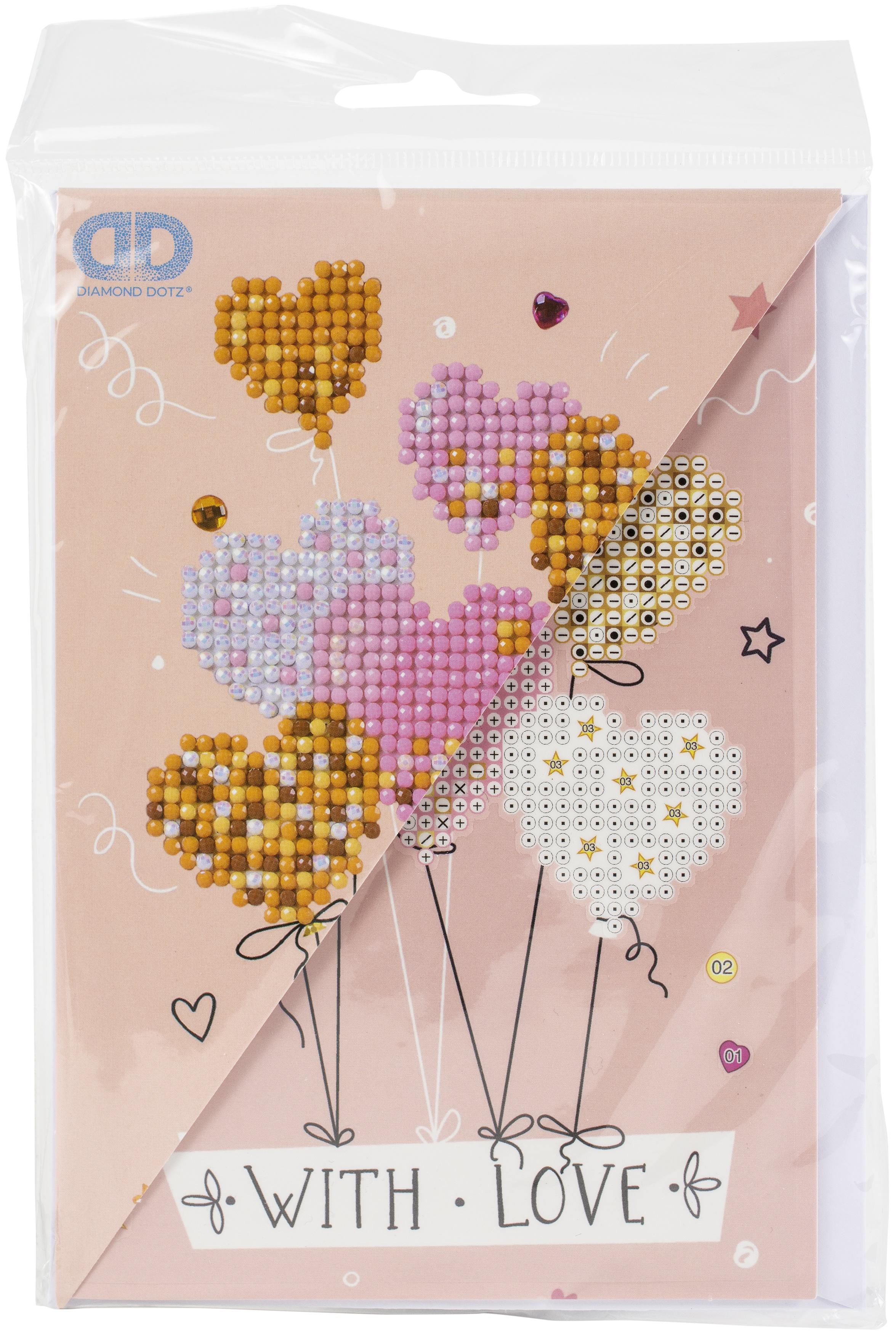 Diamond Dotz Diamond Embroidery Facet Art Greeting Card Kit - Love Balloons