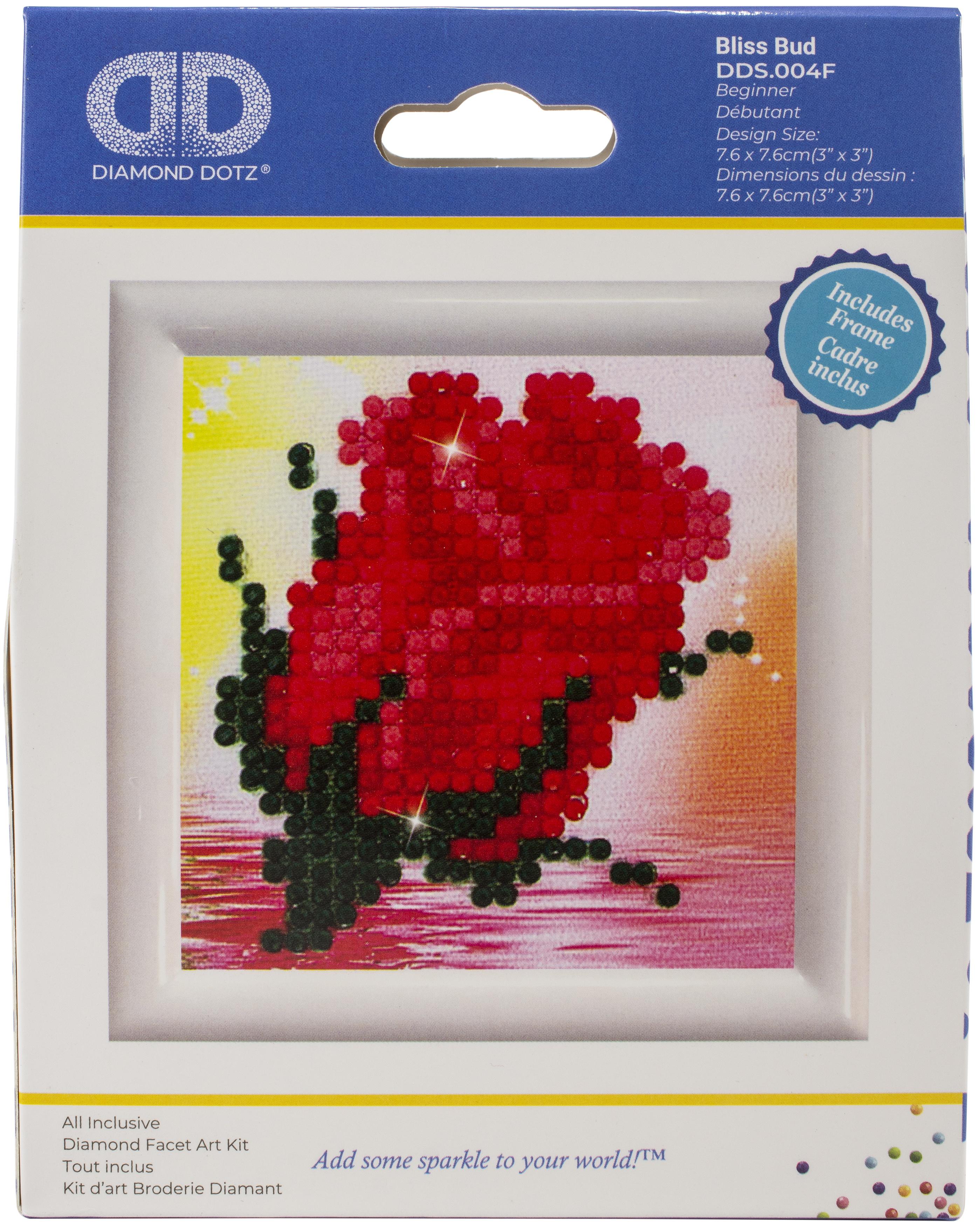 Diamond Dotz Diamond Embroidery Facet Art Kit W/ Frame-Bliss Bud W/ White Frame