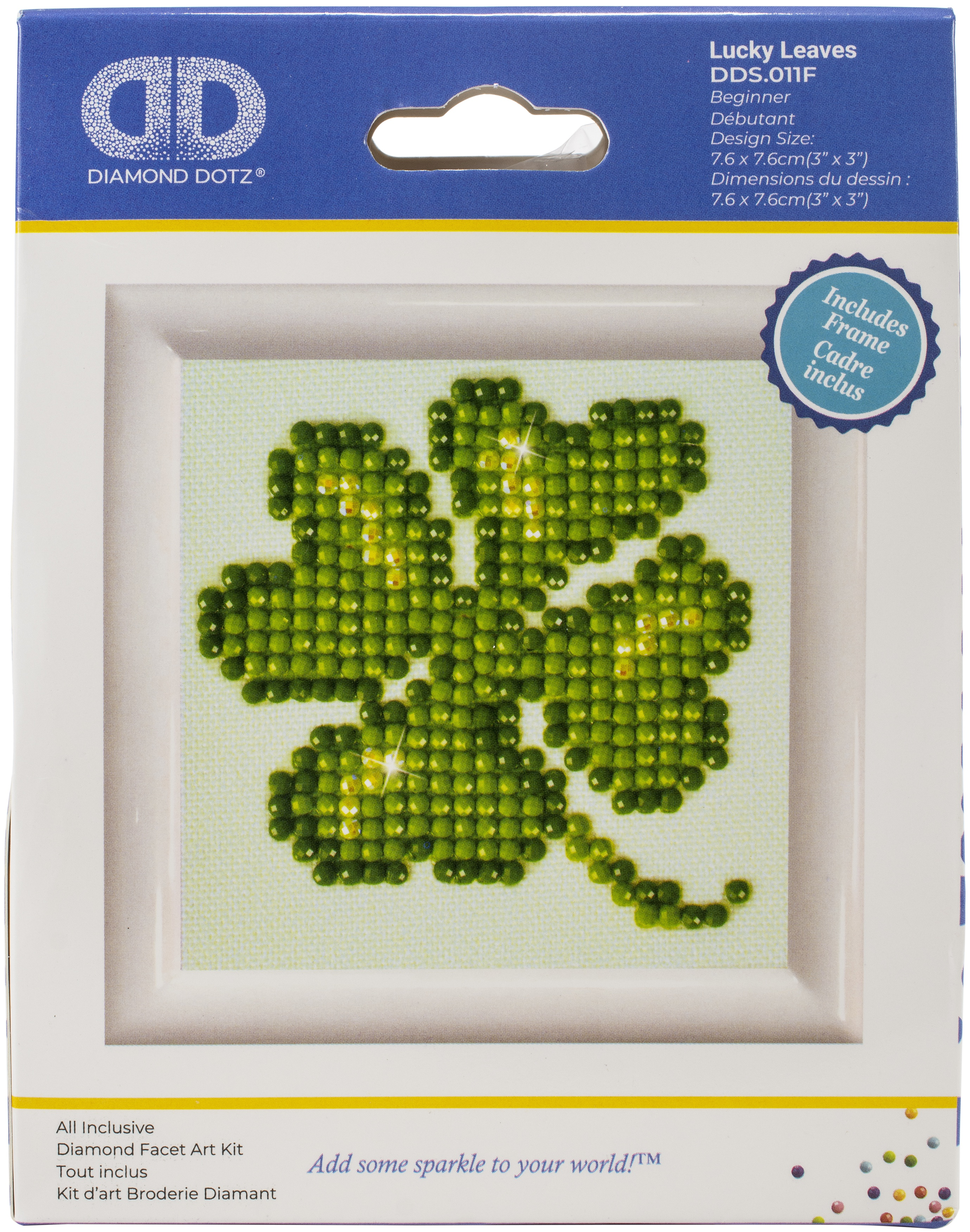 Diamond Dotz Diamond Embroidery Facet Art Kit W/ Frame-Lucky Leaves W/ White Frame