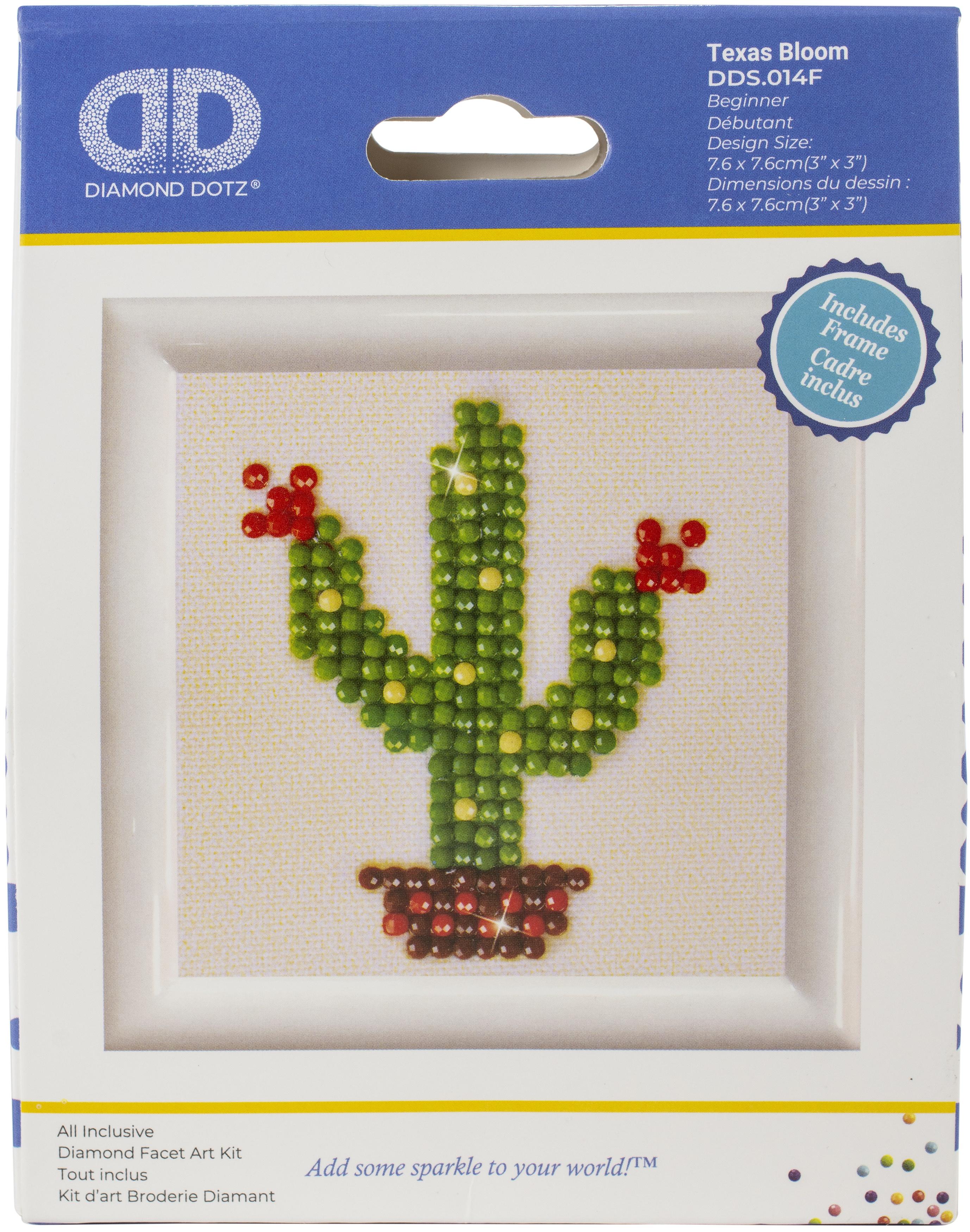 Diamond Dotz Diamond Embroidery Facet Art Kit W/ Frame-Texas Bloom W/ White Frame