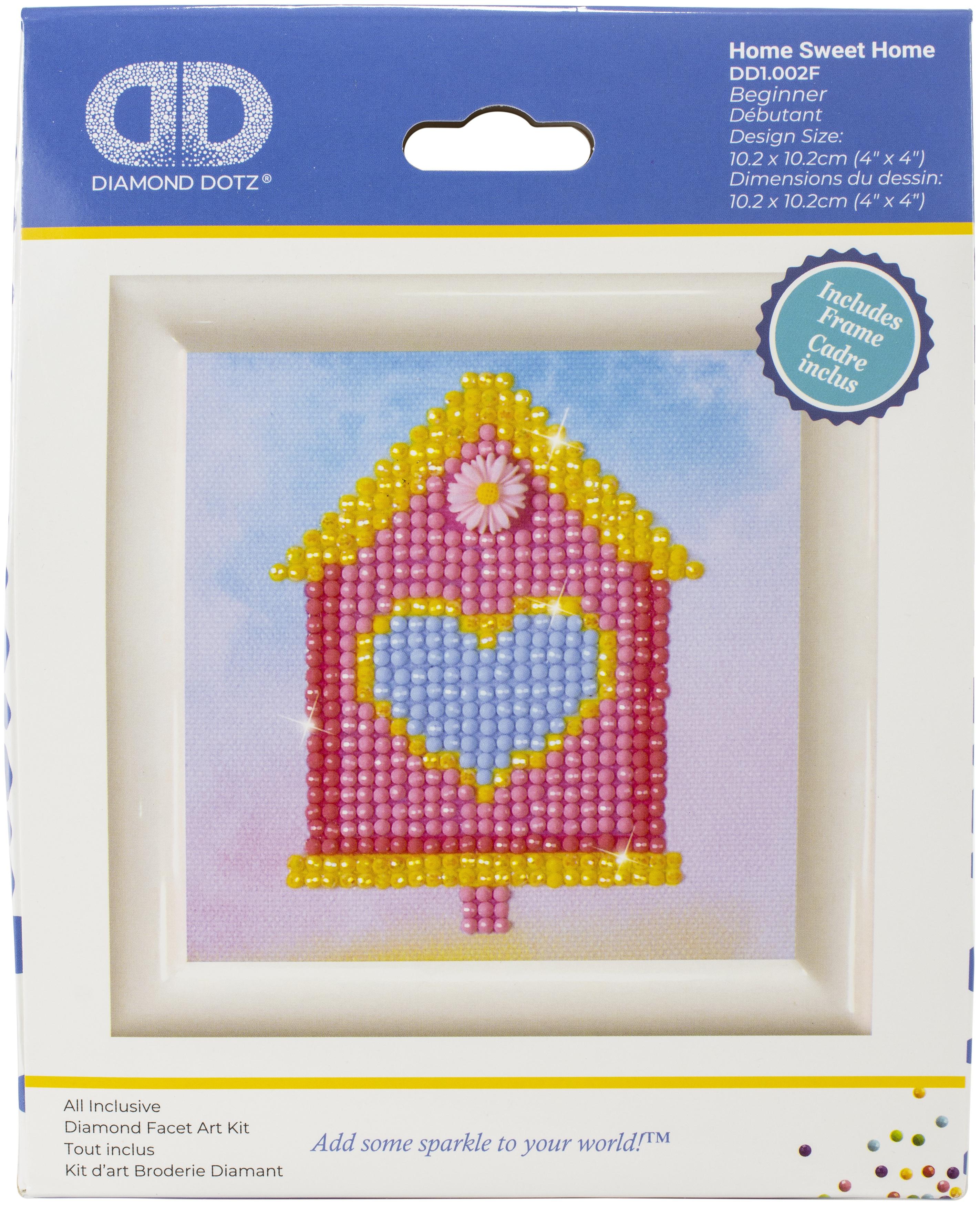 Diamond Dotz Diamond Embroidery Facet Art Kit W/ Frame-Home Sweet Home W/ White Frame