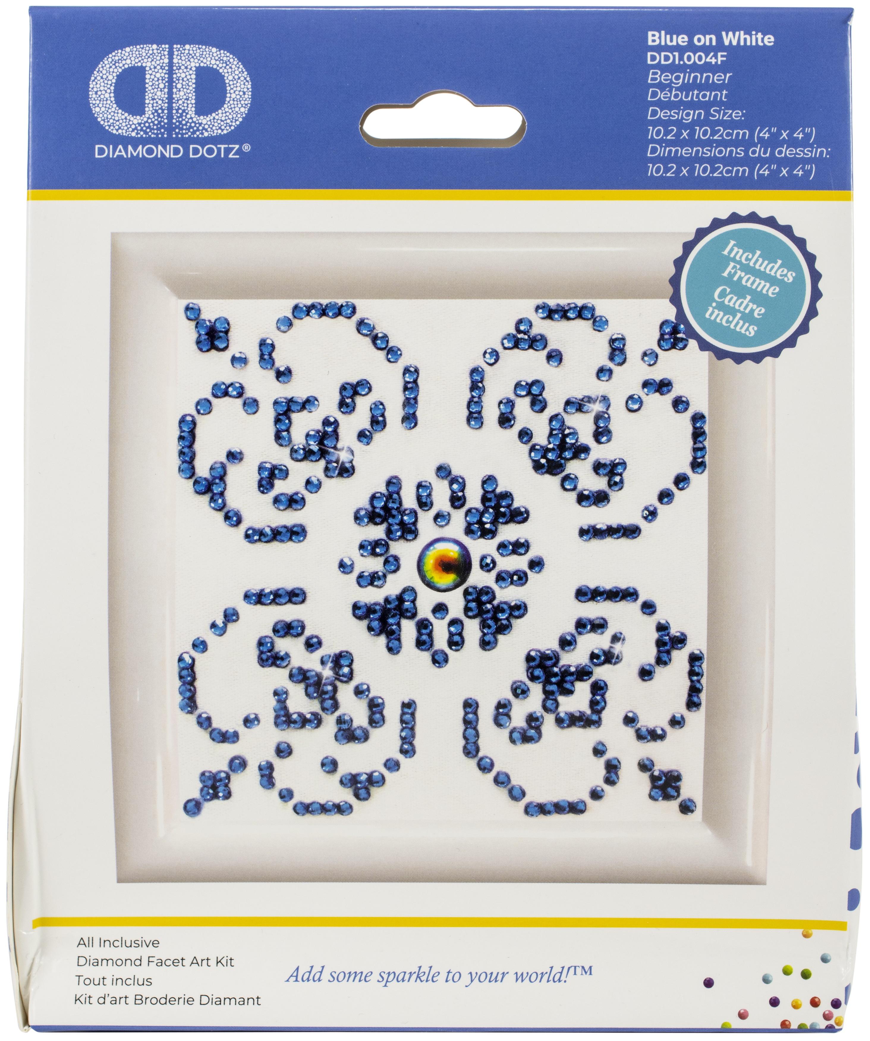 Diamond Dotz Diamond Embroidery Facet Art Kit W/ Frame-Blue On White W/ White Frame