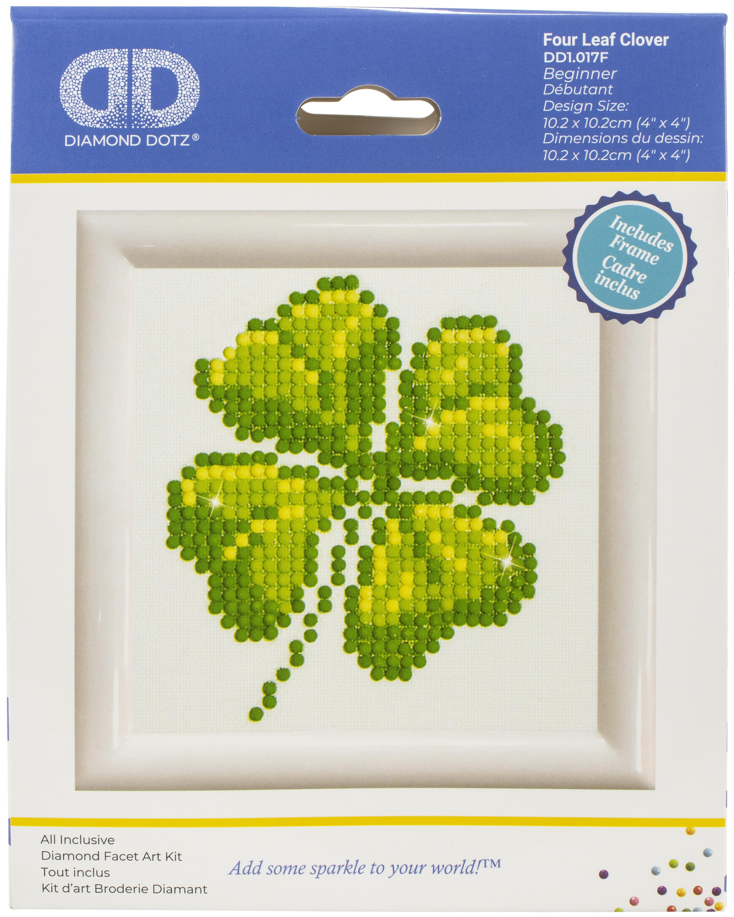 Diamond Dotz Diamond Embroidery Facet Art Kit W/ Frame-Four Leaf Clover W/ White Frame