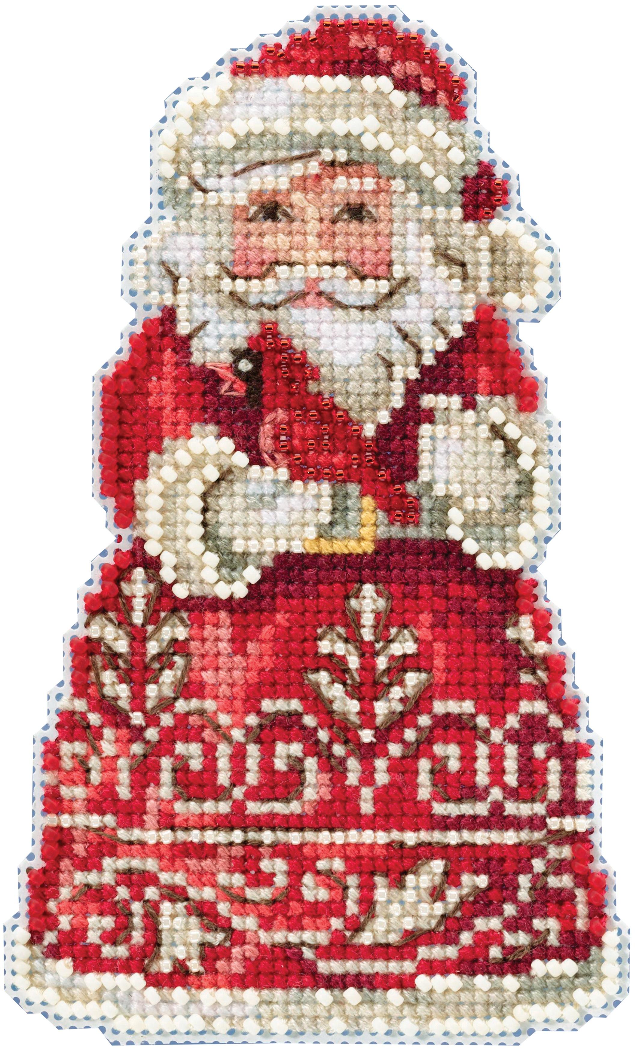 Santa With Cardinal cross stitch kit