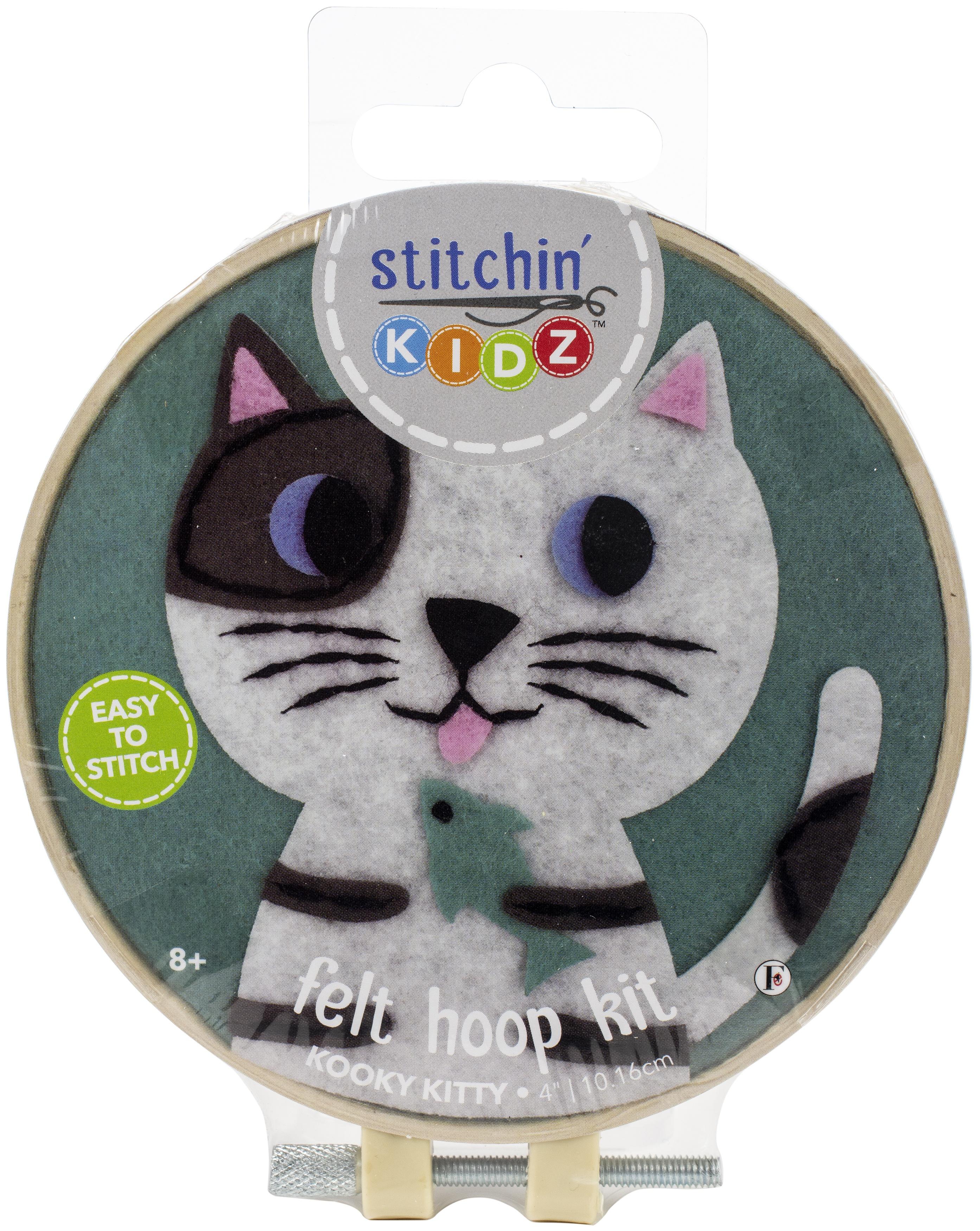 Fabric Editions Stitchin' Kidz Felt Hoop Kit 4-Cat