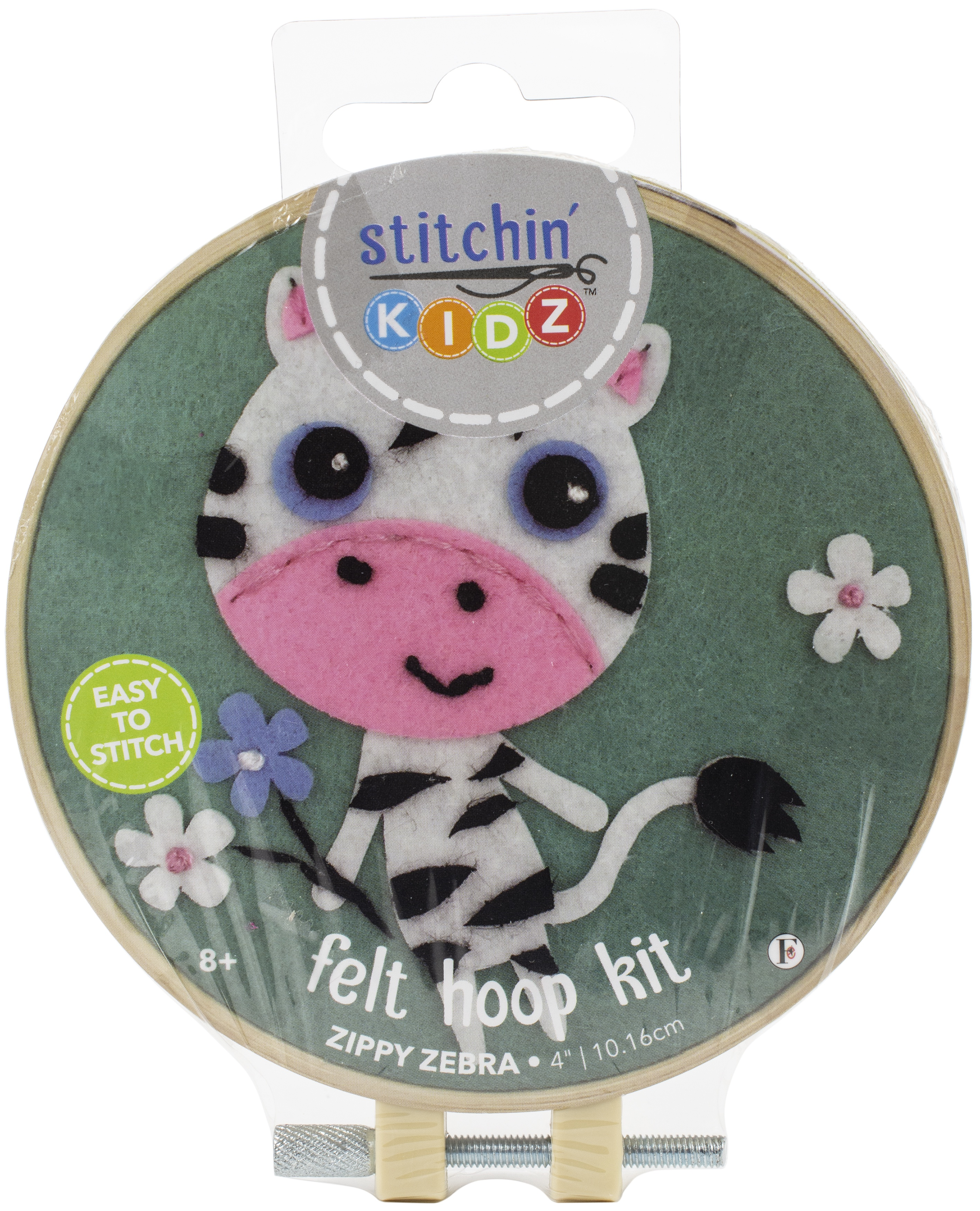 Fabric Editions Stitchin' Kidz Felt Hoop Kit 4-Zebra