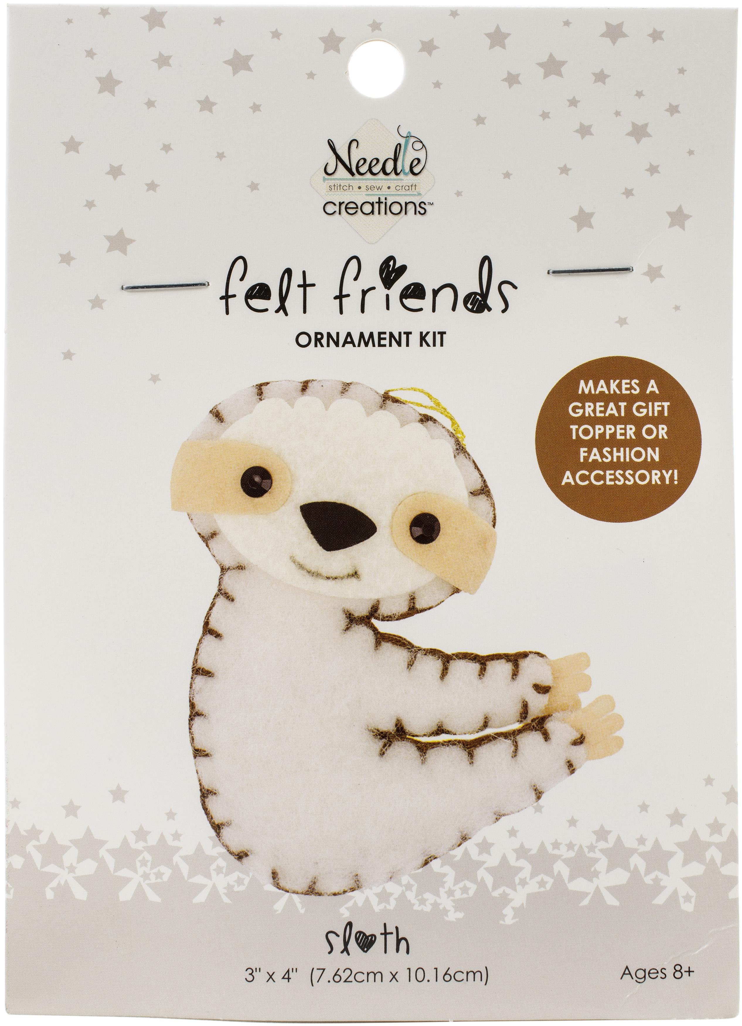 Fabric Editions Needle Creations Felt Ornament Kit -Sloth