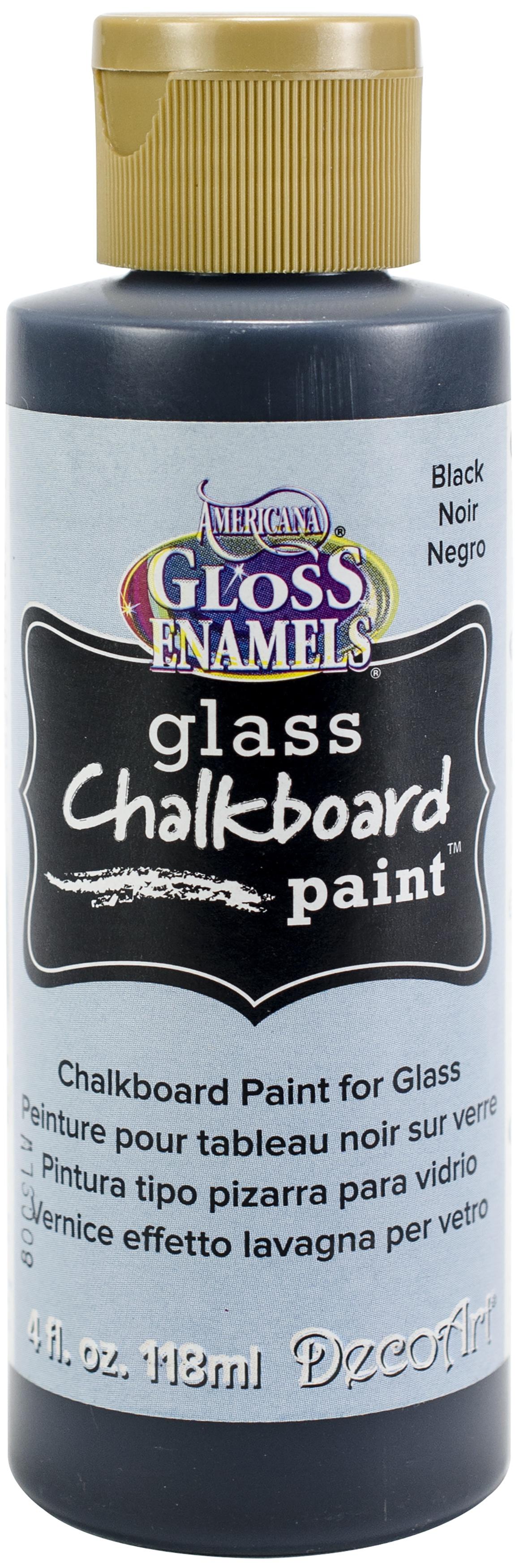 Americana Gloss Enamels Glass Chalkboard Paint 4oz-Black