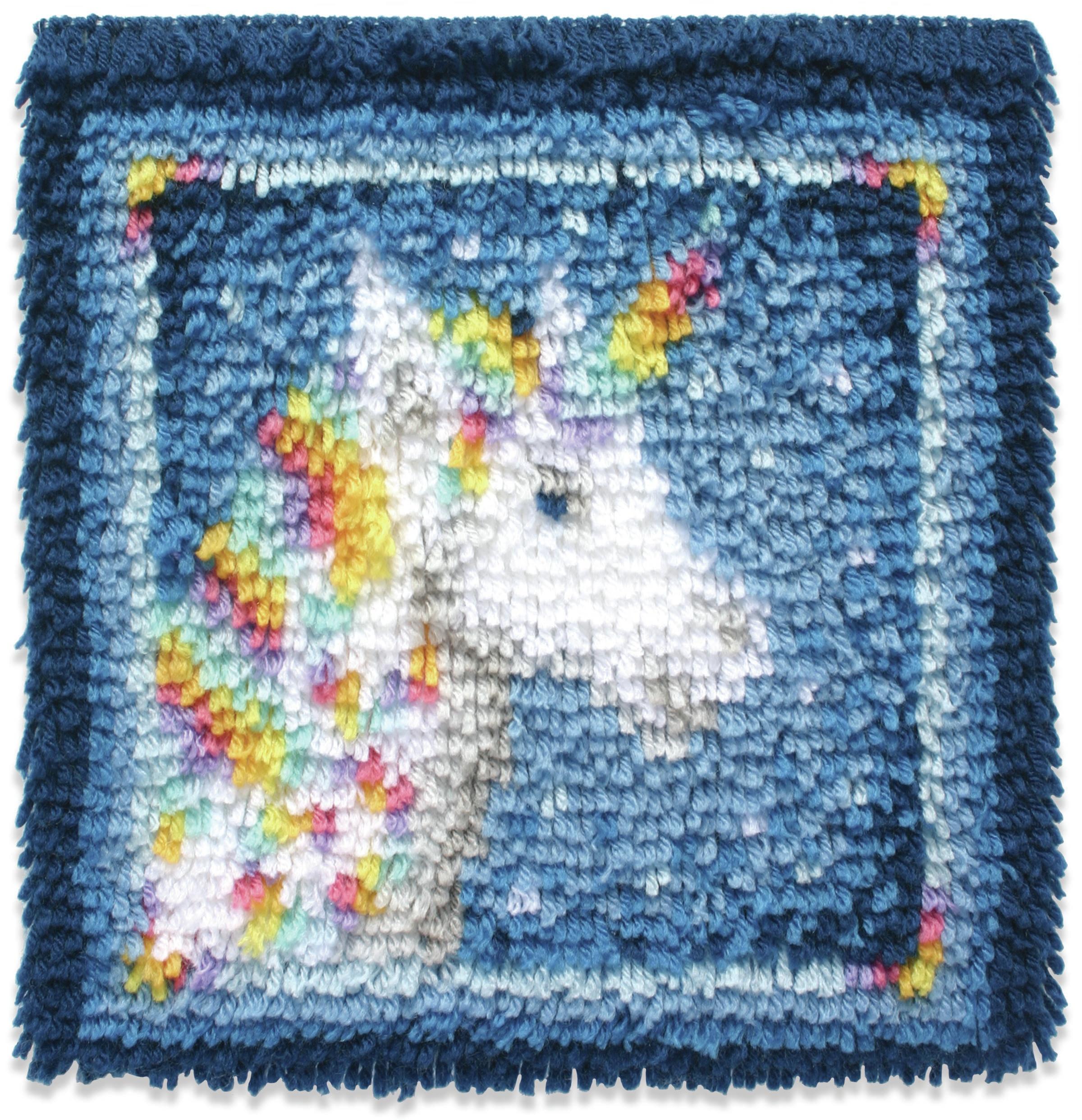 Caron Wonderart Latch Hook Kit 12X12-Unicorn
