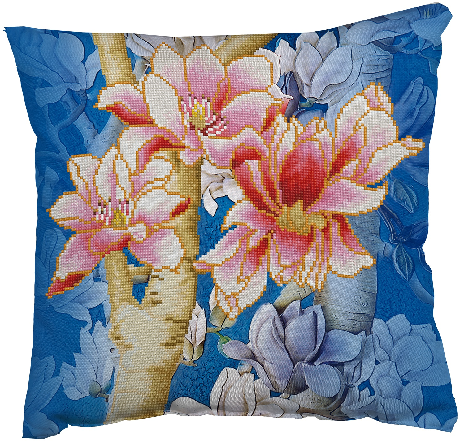 Diamond Dotz Diamond Embroidery Pillow Facet Art Kit-Magnolia On Blue 1 (17.5X17.5)