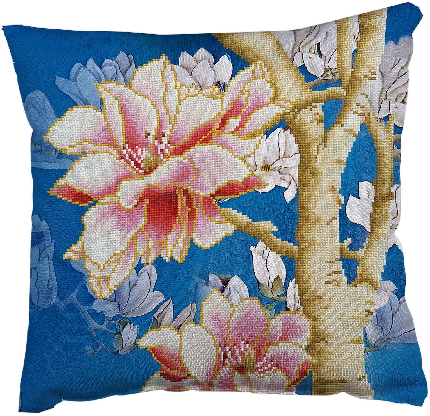 Diamond Dotz Diamond Embroidery Pillow Facet Art Kit - Magnolia On Blue 2