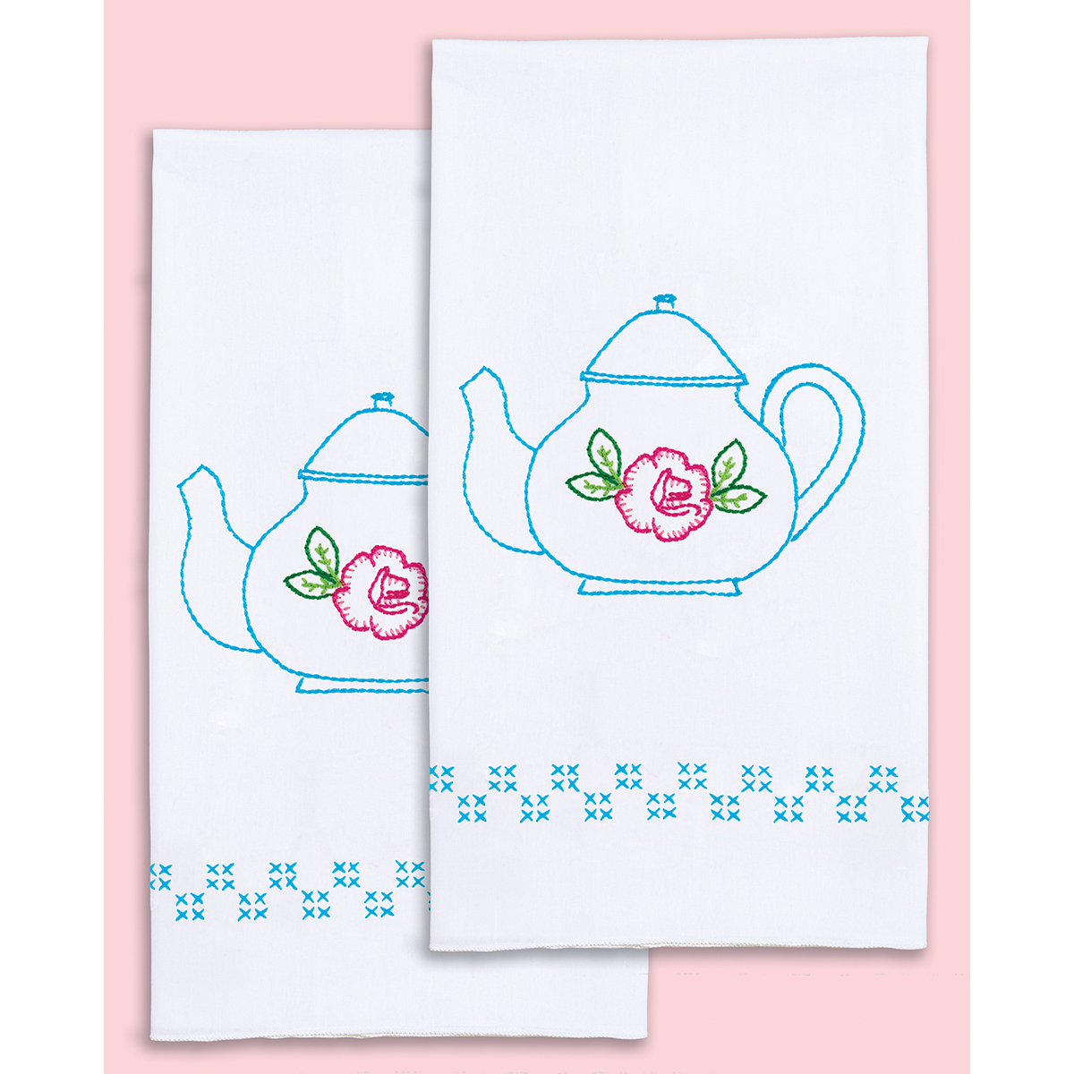 Stamped Embroidery Hand Towels - Teapot