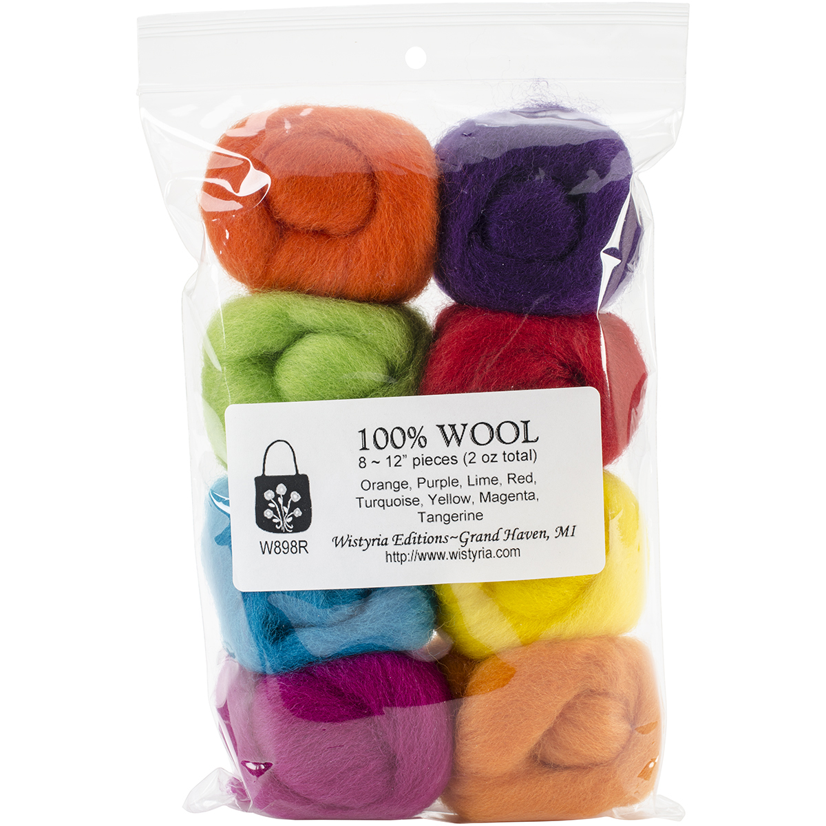 Wistyria Editions Wool Roving 12 .25oz 8/Pkg-Soft Pastels