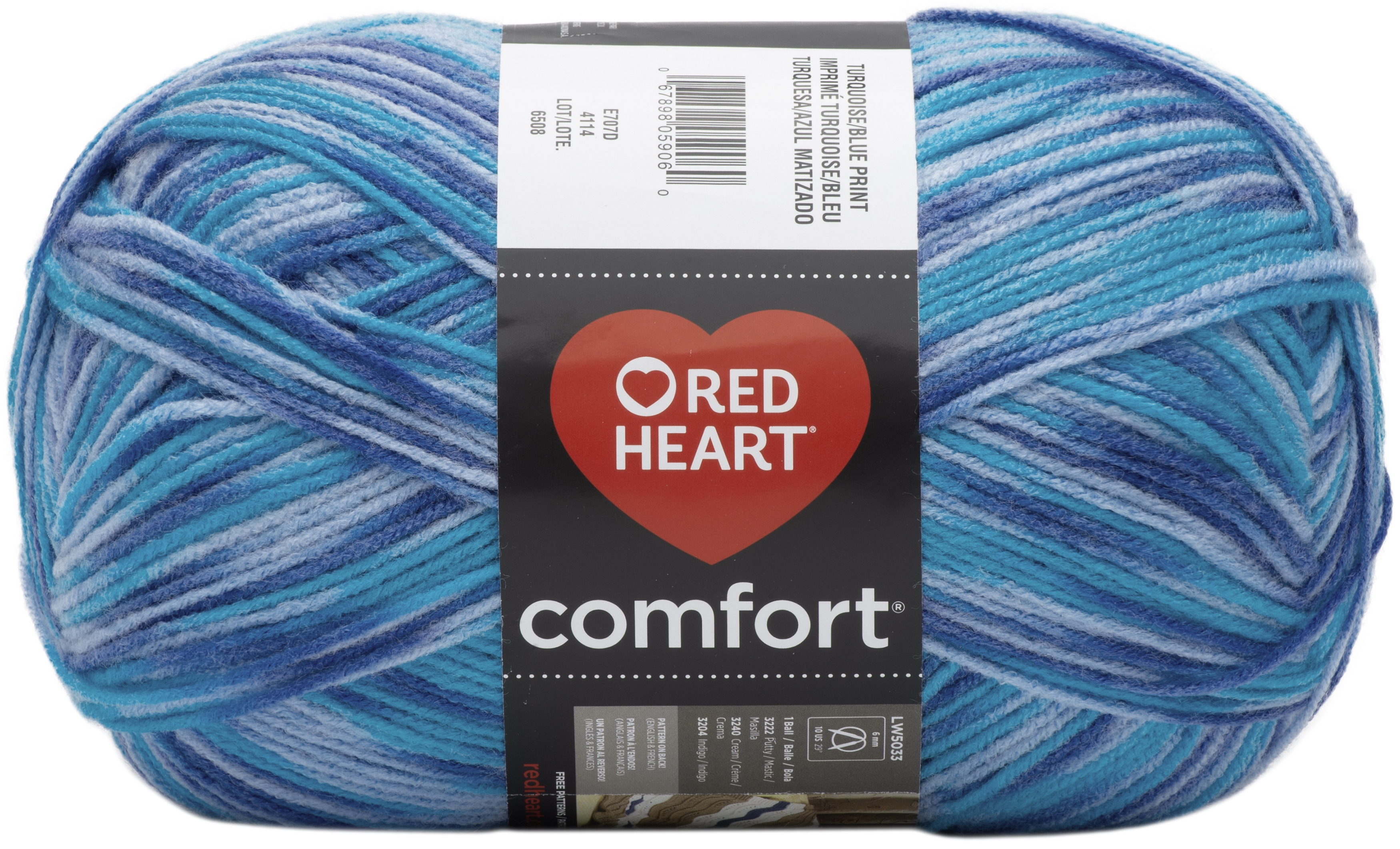 Red Heart Comfort Yarn-Turquoise & Blue Print